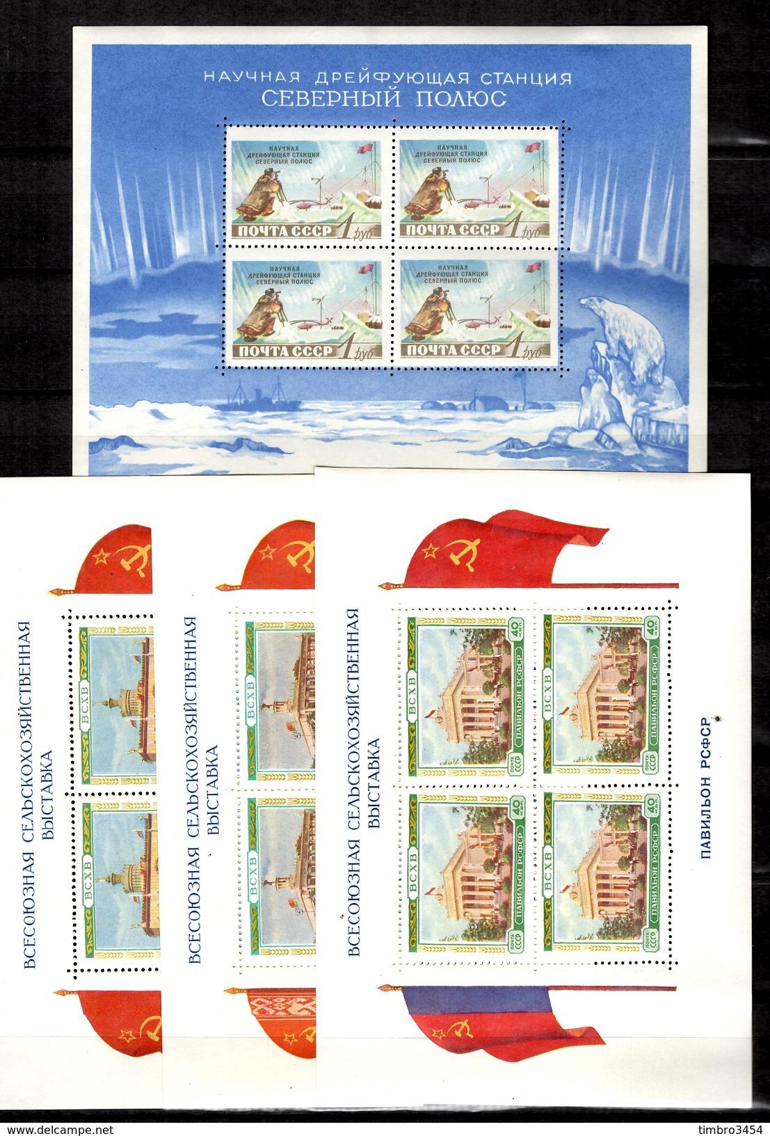 Russie Huit Blocs-feuillets Neufs Et Oblitérés 1937/1958. Bonnes Valeurs. B/TB. A Saisir! - Blocs & Feuillets