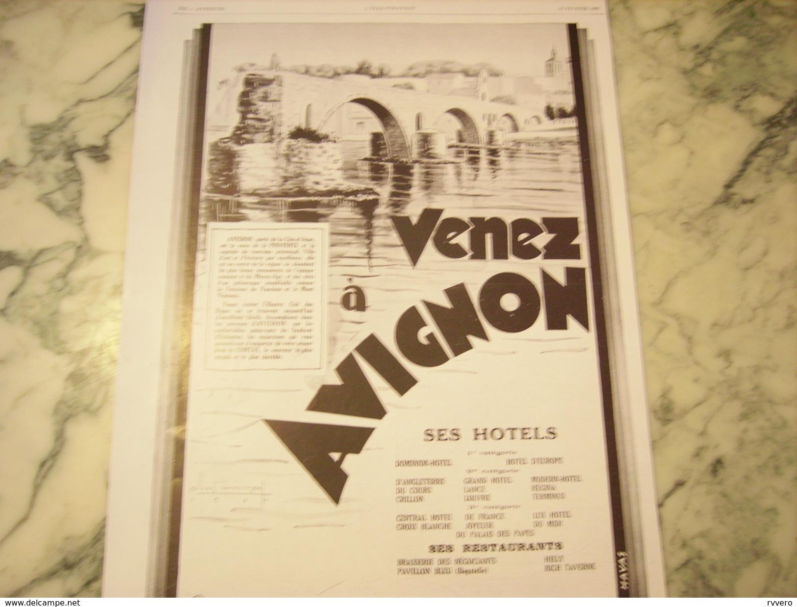 ANCIENNE PUBLICITE VENEZ A AVIGNON  1929 - Publicité