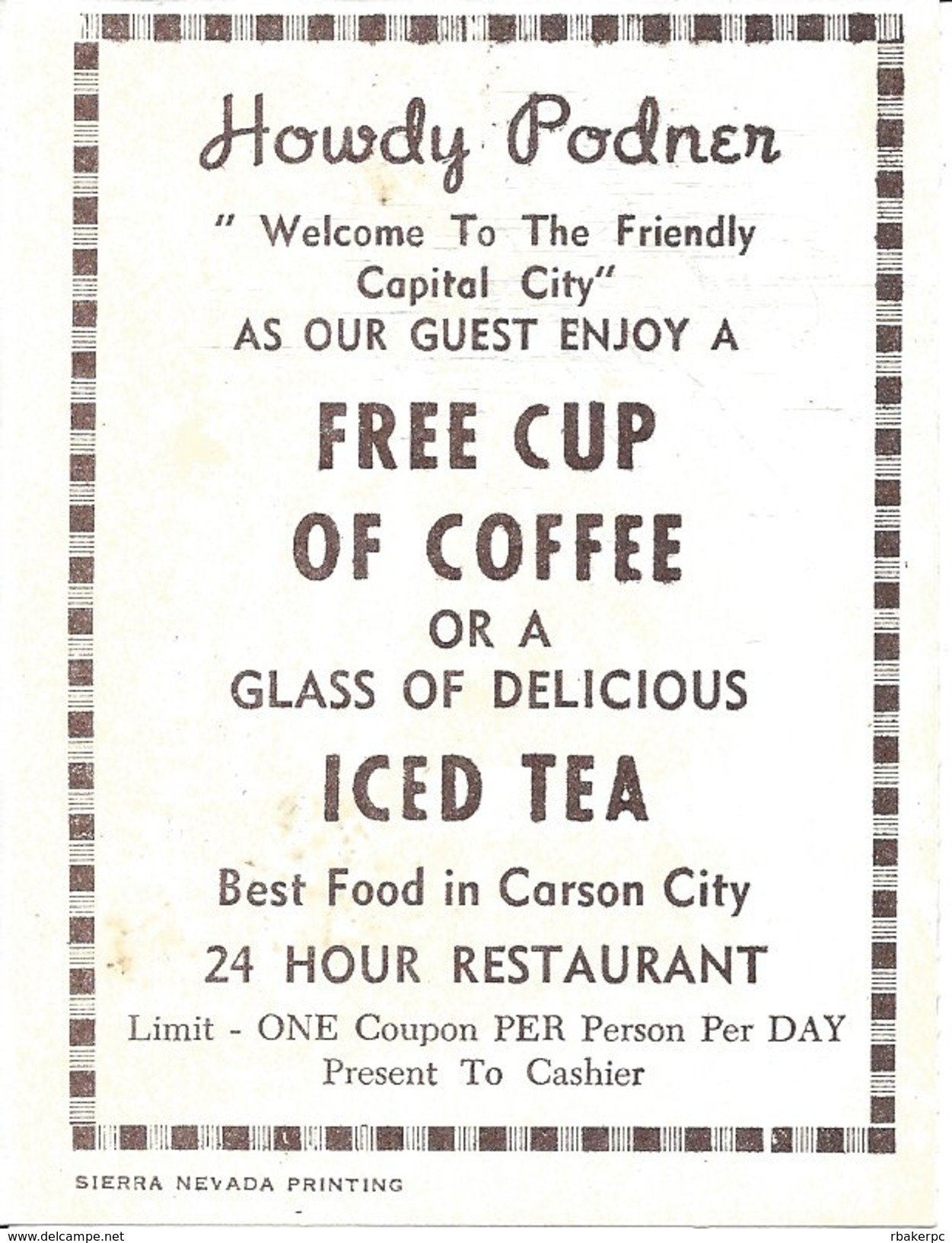 Carson City, NV USA - Coupon For Free Cup Of Coffee Or Glass Of Iced Tea - Advertising