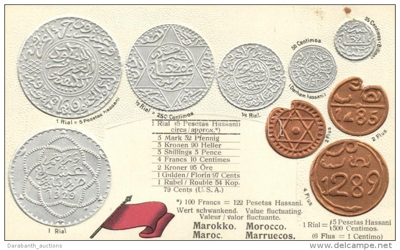 ** T1/T2 Marokko, Morocco - Set Of Coins, Currency Exchange Chart Emb. Litho - Postcards