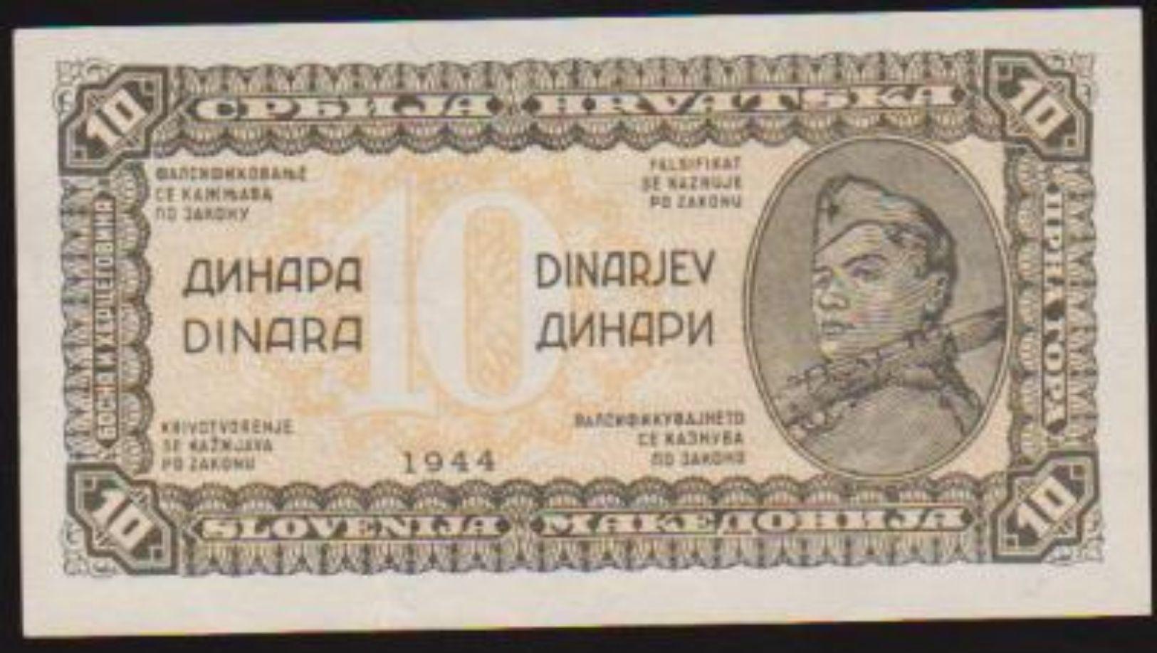 1944 JUGOSLAVIA (SLOVENIA) TEN DINARA NOTE IN A CRISP HIGH GRADE. - Jugoslavia
