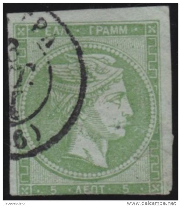 Greece         .   Yvert    .     12(B)       .        O      .   Gebruikt    .     /    .     Cancelled - 1861-86 Hermes, Groot