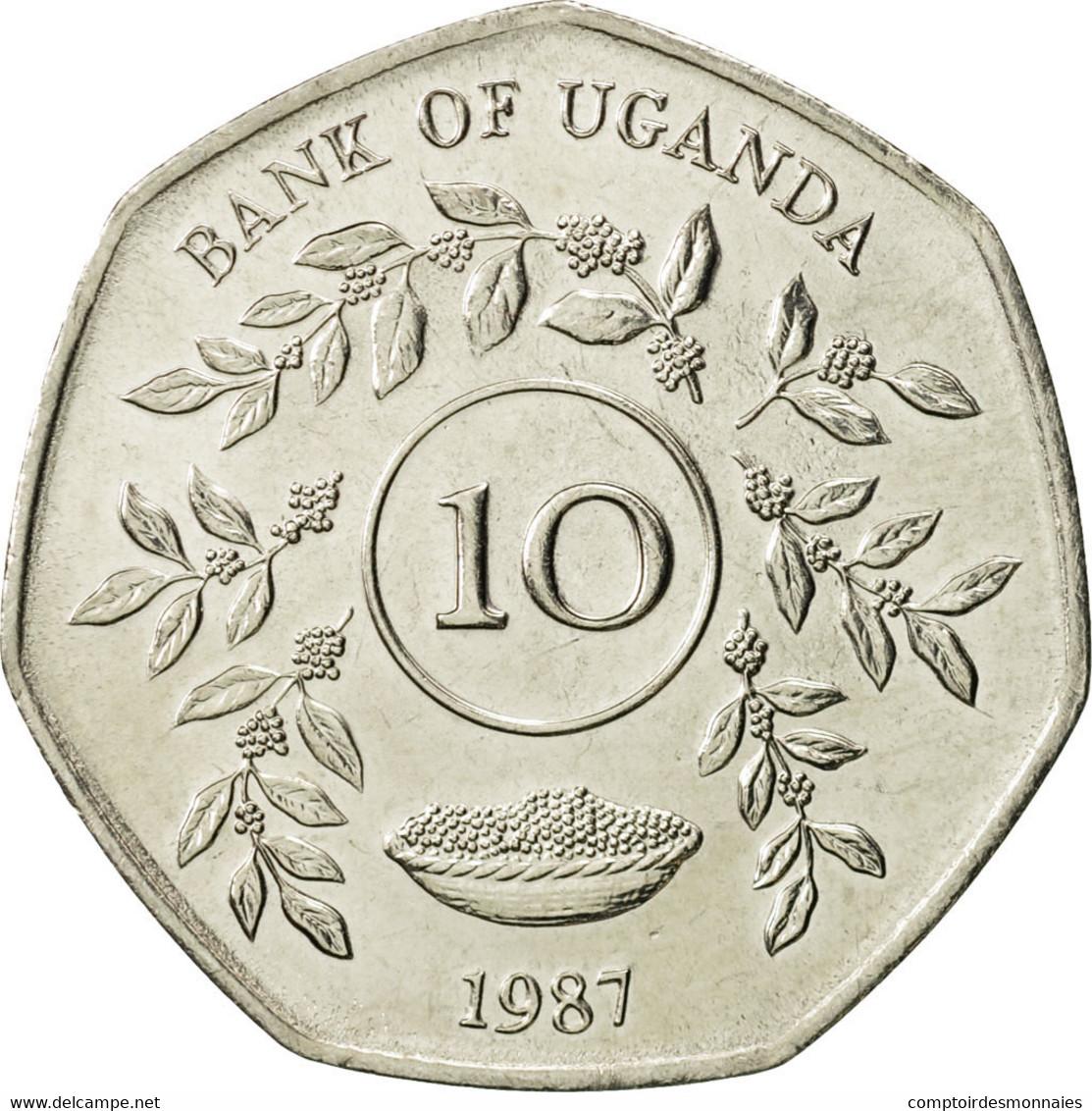 Uganda, 10 Shillings, 1987, SPL, Nickel Plated Steel, KM:30 - Ouganda