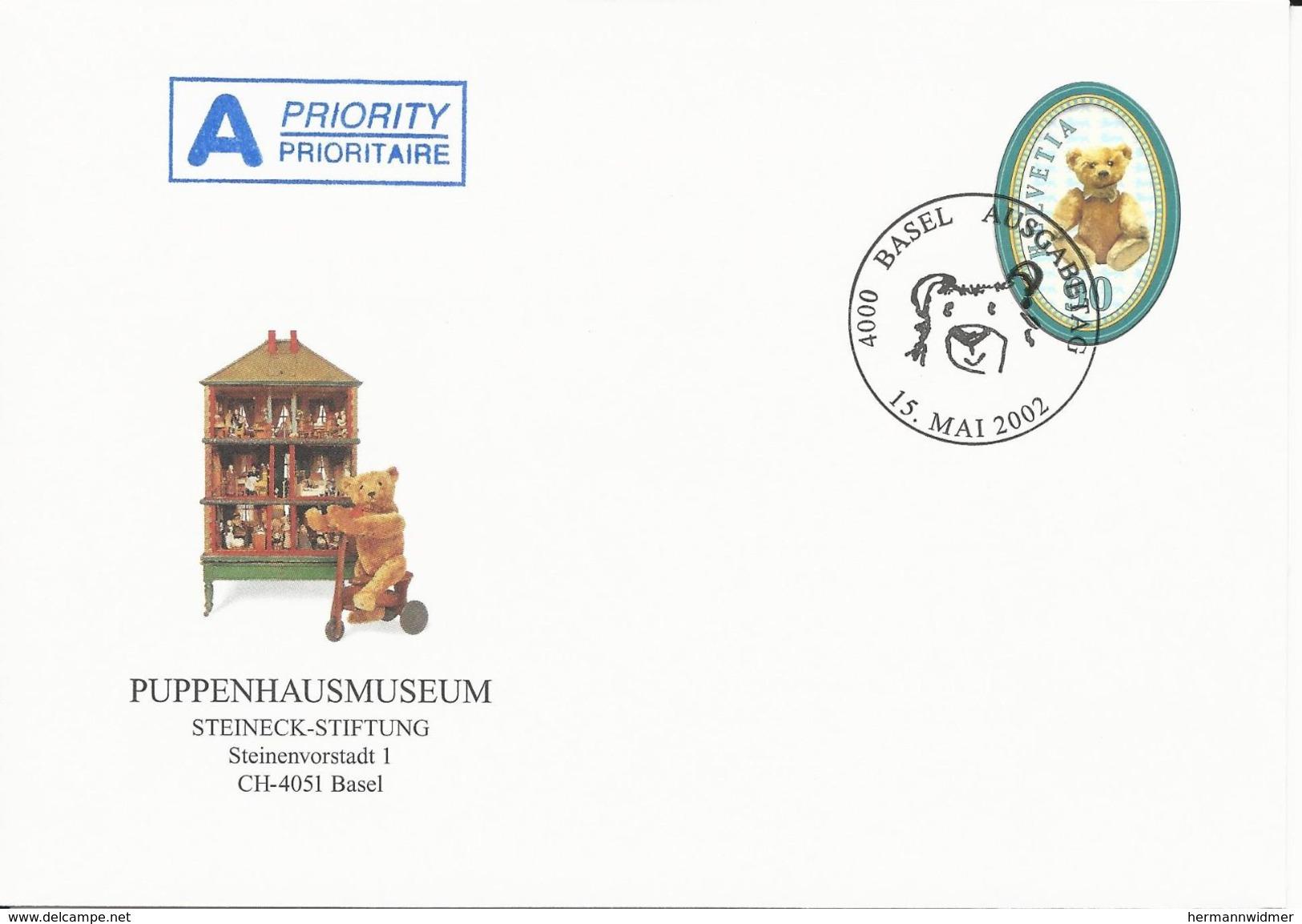 1056, 100 Ans Nounours, Allemagne, Env. Puppenhausmuseum, Basel, Obl. Basel 15. Mai 2002 - Suisse