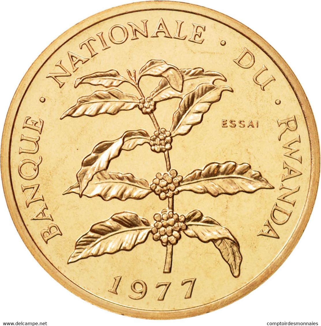 Rwanda, 5 Francs, 1977, FDC, Bronze, KM:E5 - Rwanda