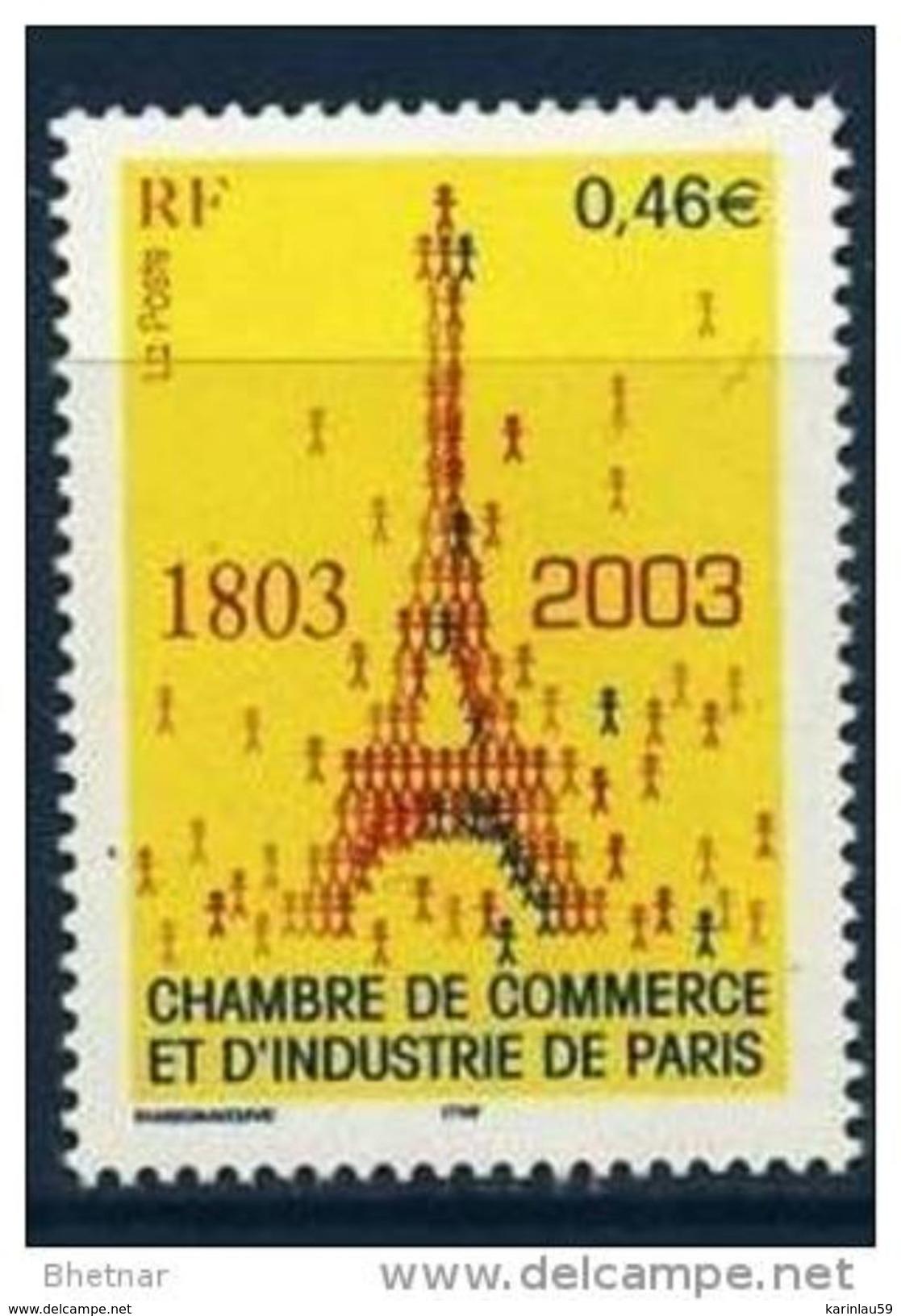 """Timbre Yt 3545 """" Chambre De Commerce Et D'industrie  De Paris """" 2003 Neuf - France"""