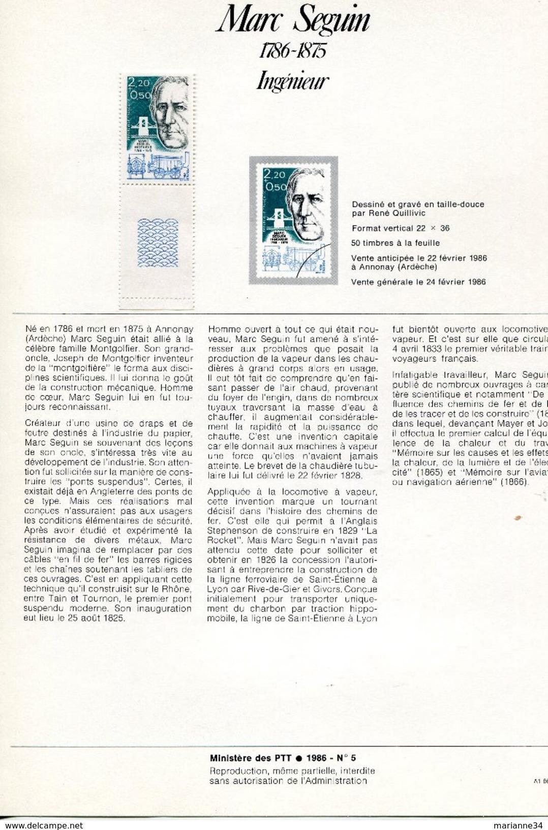 France-1986-notices-Personnages Célèbres:physiciens, Chimistes Et Ingénieurs (n° 4,5,6,7,8) - Documents De La Poste