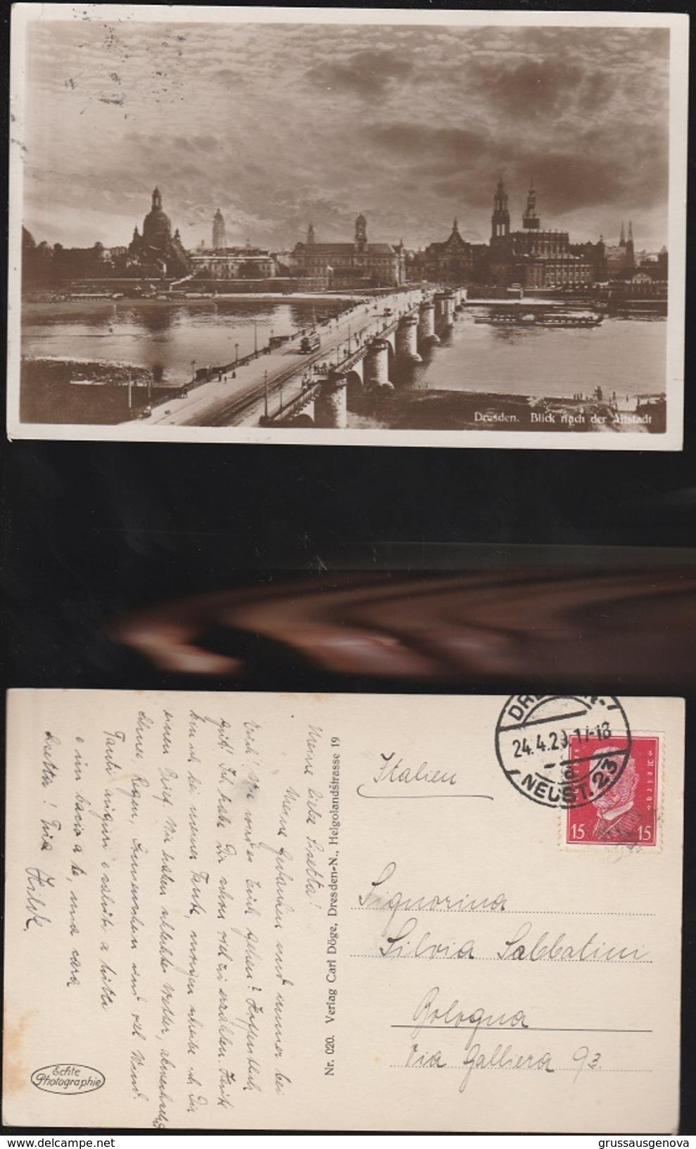 13038) DRESDEN BLICK NACH DER ALTSTADT VIAGGIATA 1929 - Dresden