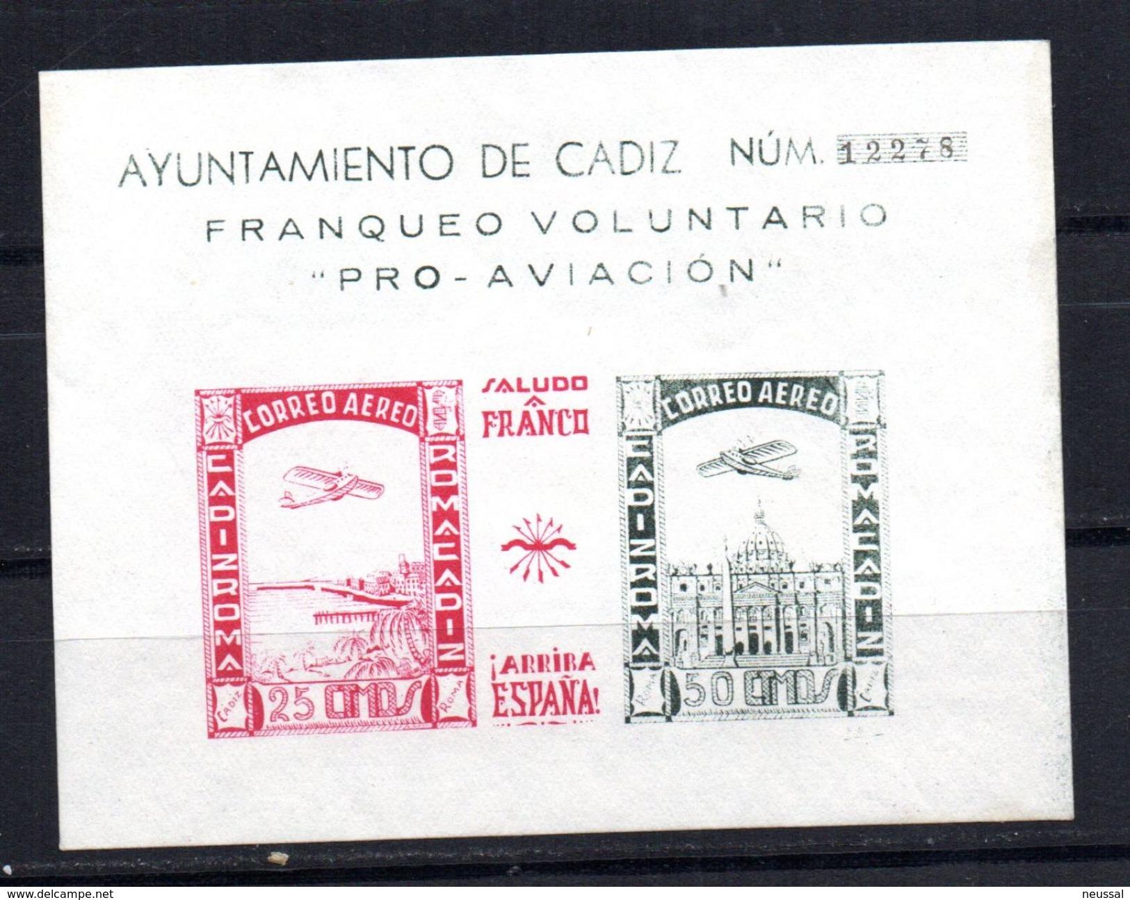 Viñeta  Nº 100  Sin Dentar  Ayuntamiento De Cadiz Con Numeracion. - Vignettes De La Guerre Civile