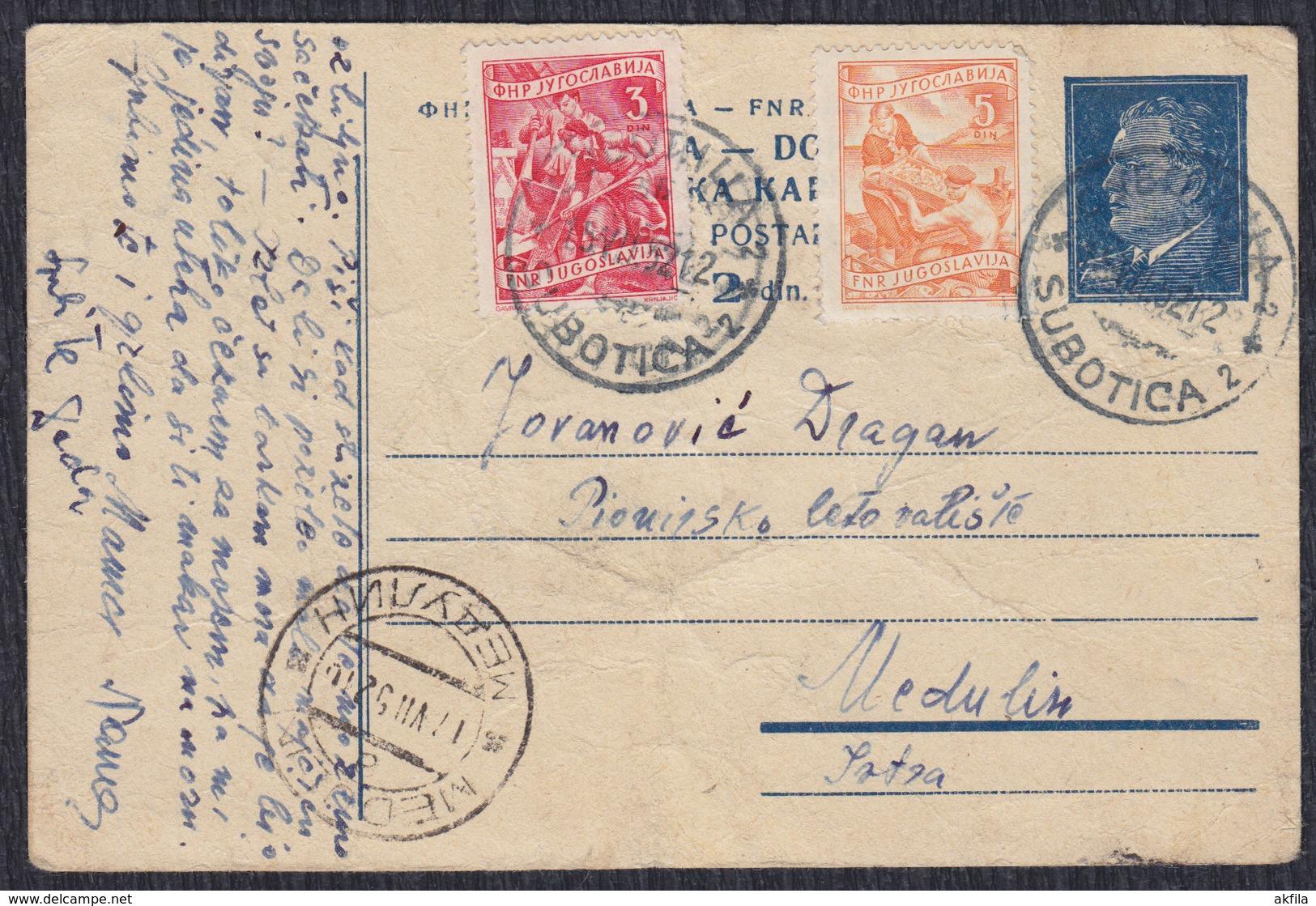 Yugoslavia 1952 Marshal Tito Postal Stationery Sent From Subotica To Medulin (week Condition) - Ganzsachen