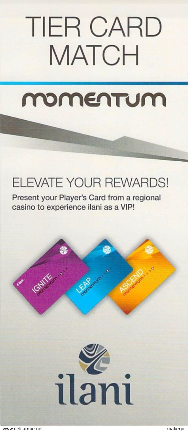 Ilani Casino - Ridgefield, WA - Momentum Tier Card Match Paper Brochure - Advertising