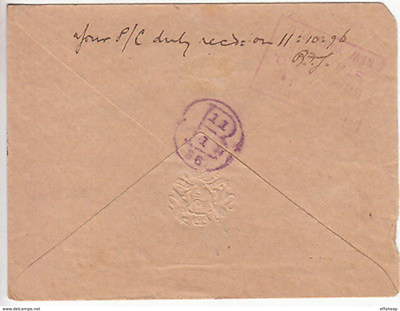 Dominica: Cover Treasurer's Office, Dominica, To New York, 12-13 Oct-1 Nov 1896 - Dominica (1978-...)
