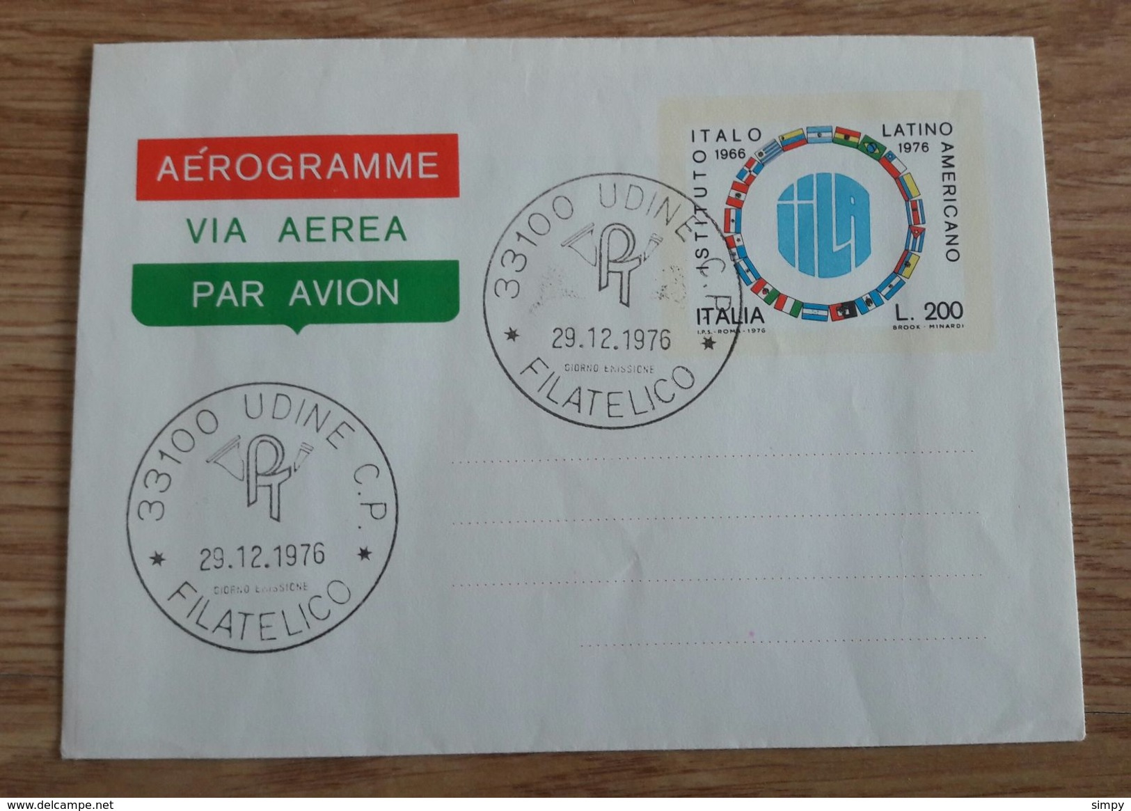 ITALY 1976 Italian Latin American Institute Aerogramme - 6. 1946-.. Repubblica