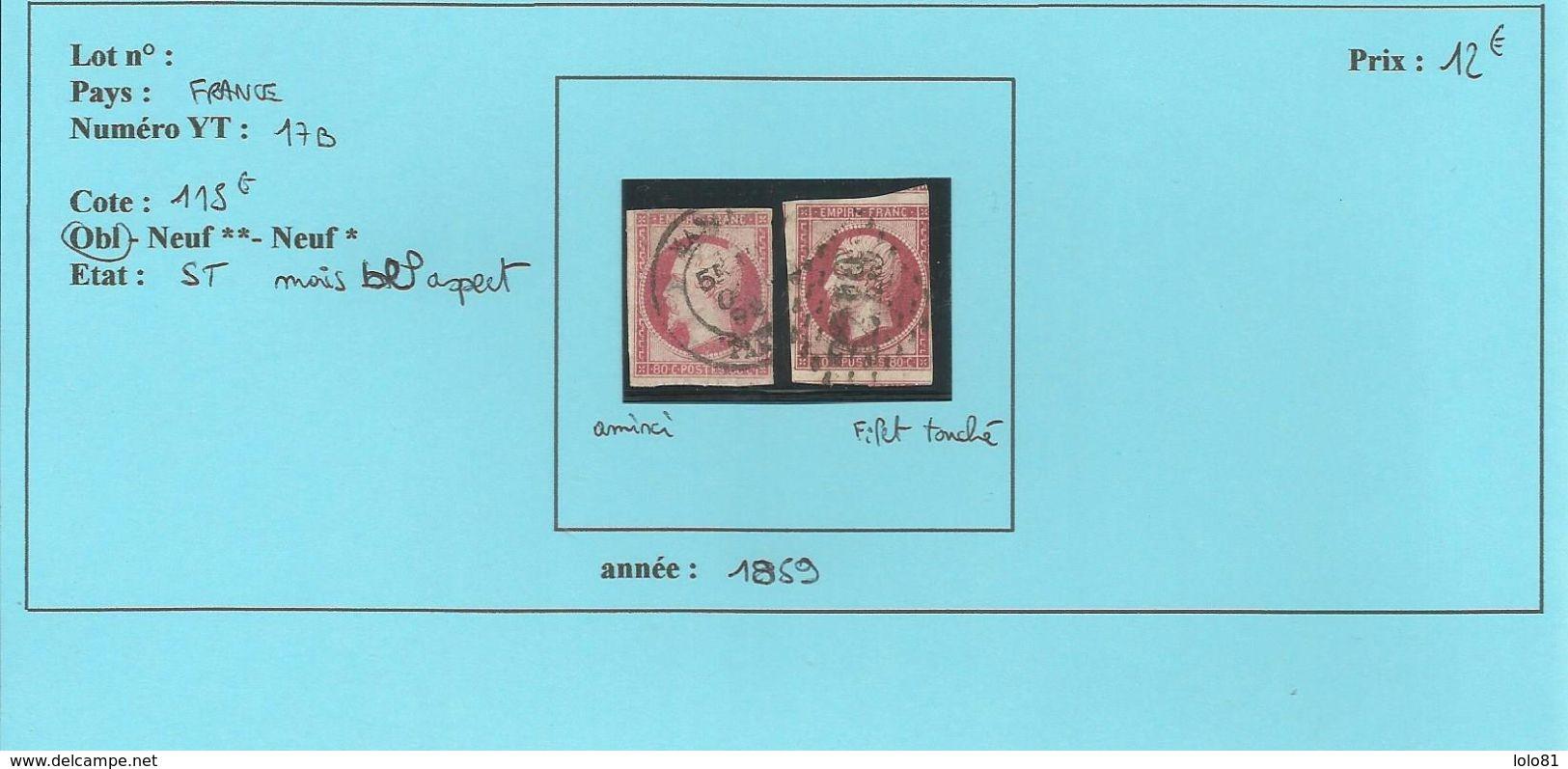FRANCE YT Deux N°17B Oblitéré  ST - 1871-1875 Cérès