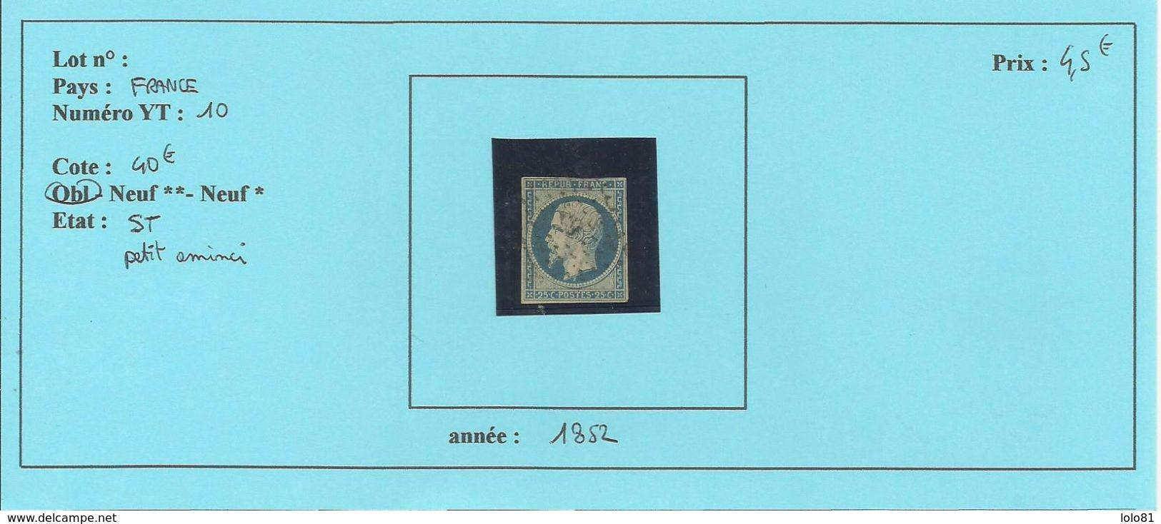 FRANCE YT N°10 Oblitéré  ST - 1852 Louis-Napoléon
