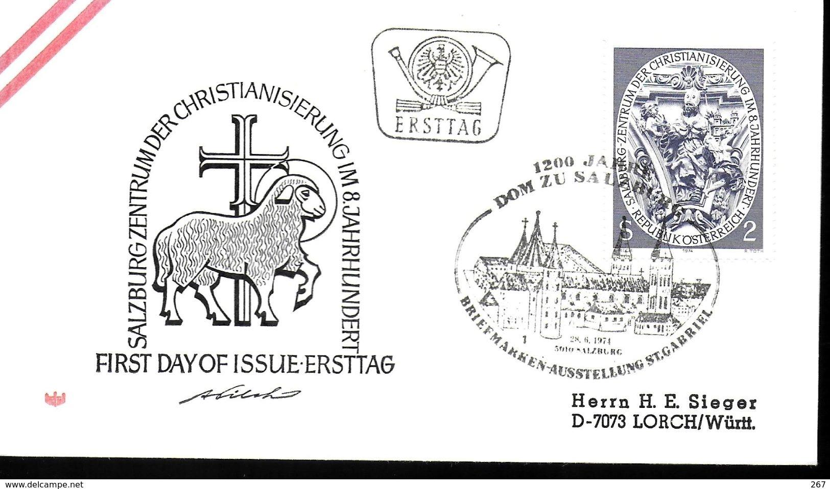 AUTRICHE    FDC  1974   Salzbourg Centre D Evangelisation Eglise De Nonntal  Mouton - Cristianesimo