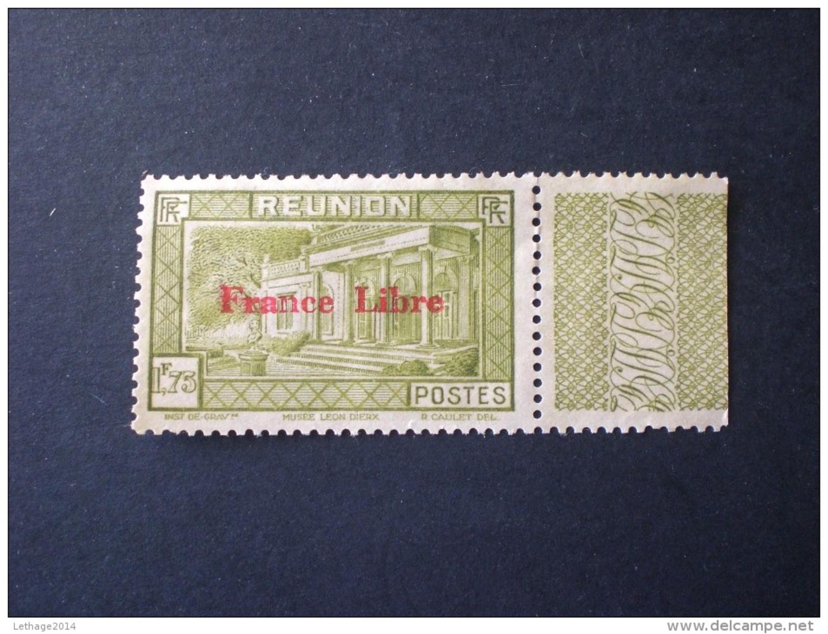 STAMPS REUNION ISLAND 1943 TIMBRES 1933-39 SURCHANGES FRANCE LIBRE MNG - Réunion (1852-1975)