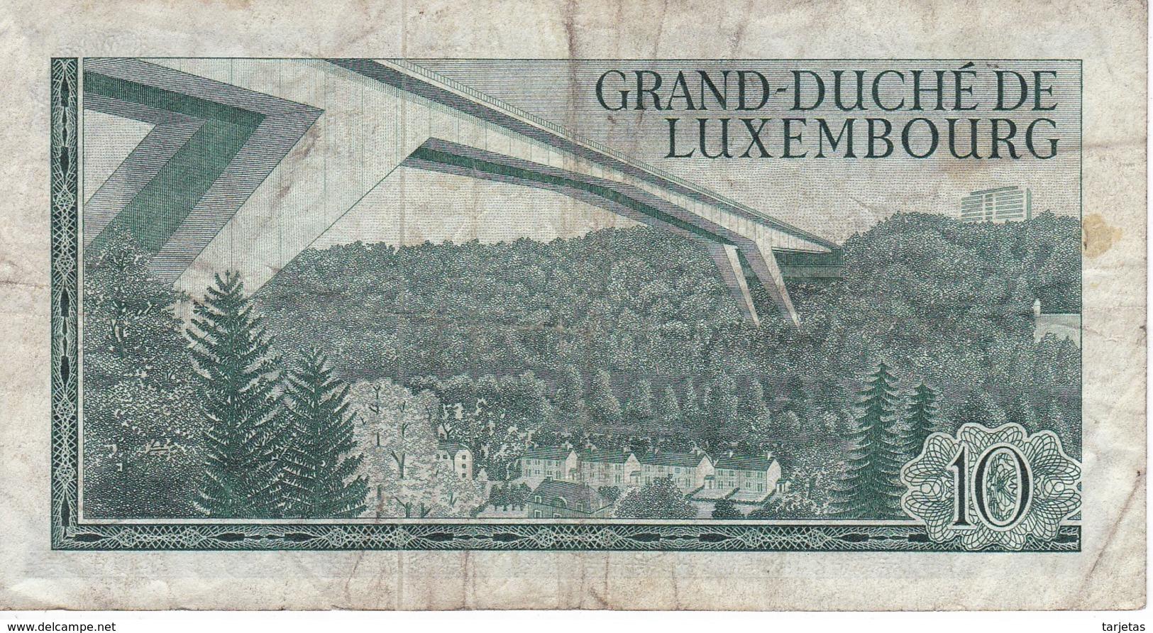 BILLETE DE LUXEMBURGO DE 10 FRANCS DEL  AÑO 1967 SERIE C (BANKNOTE) - Luxemburgo