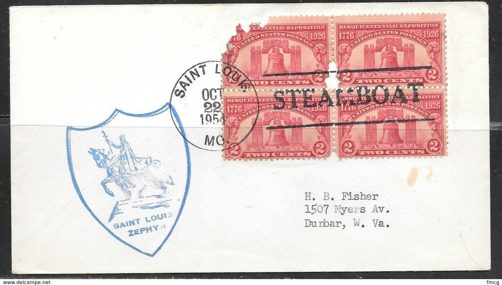 1954 St. Louis Missouri Steamboat Cancel, Oct. 22, 1954 - Ships