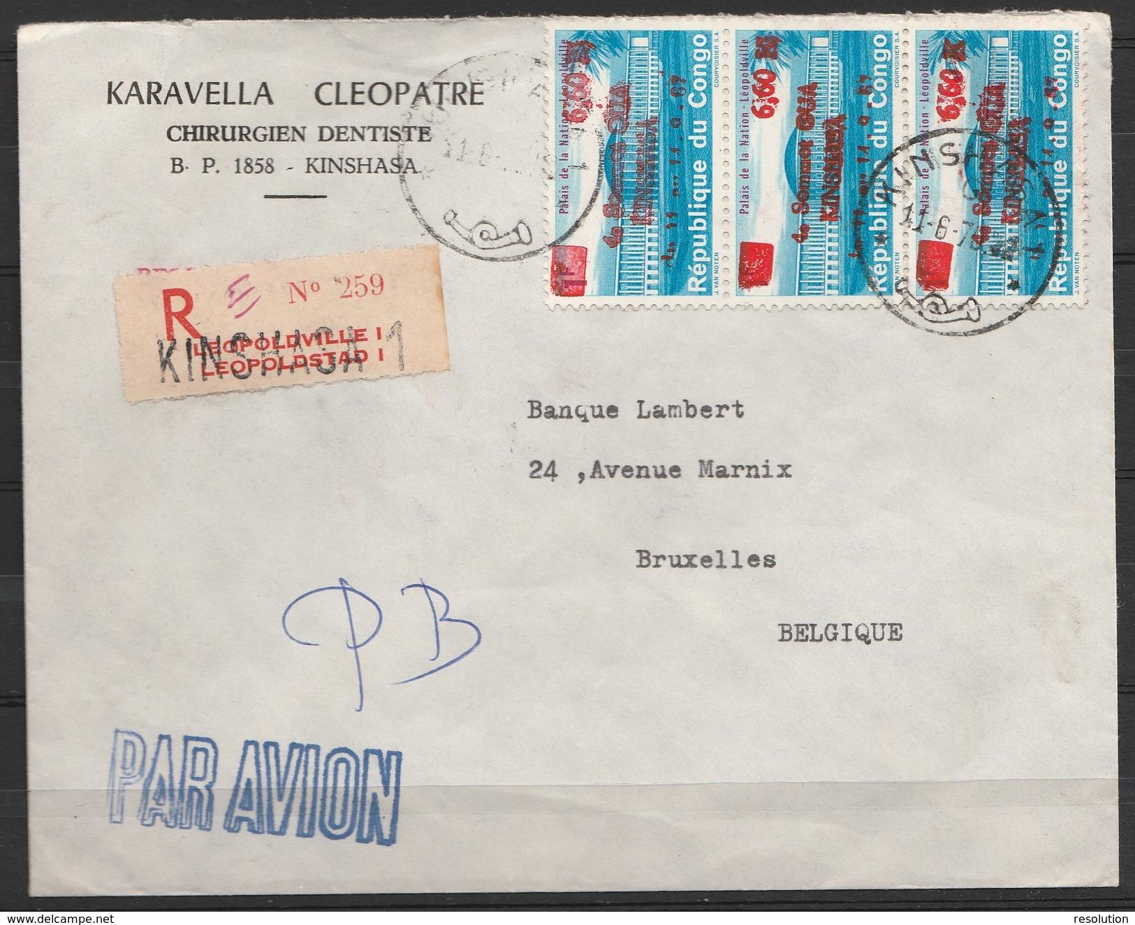 """L. Entête Dentiste Recommandée Par Avion Affr.N°649(x3) Càd """"KINSHASA 1/11-6-1970"""" Pour Banque à BRUXELLES - République Démocratique Du Congo (1964-71)"""