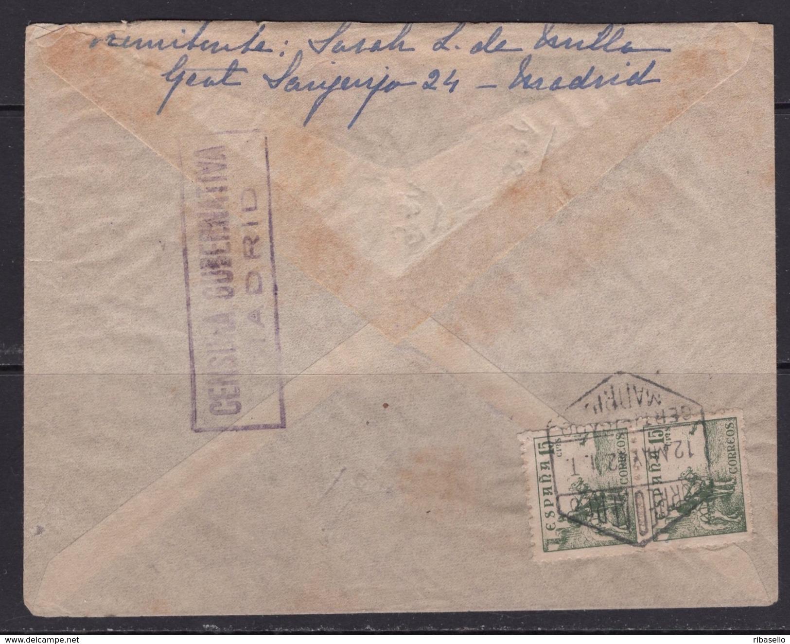 España 1942. Correo Aereo Certificado De Madrid A Buenos Aires. Censura. - Marcas De Censura Nacional