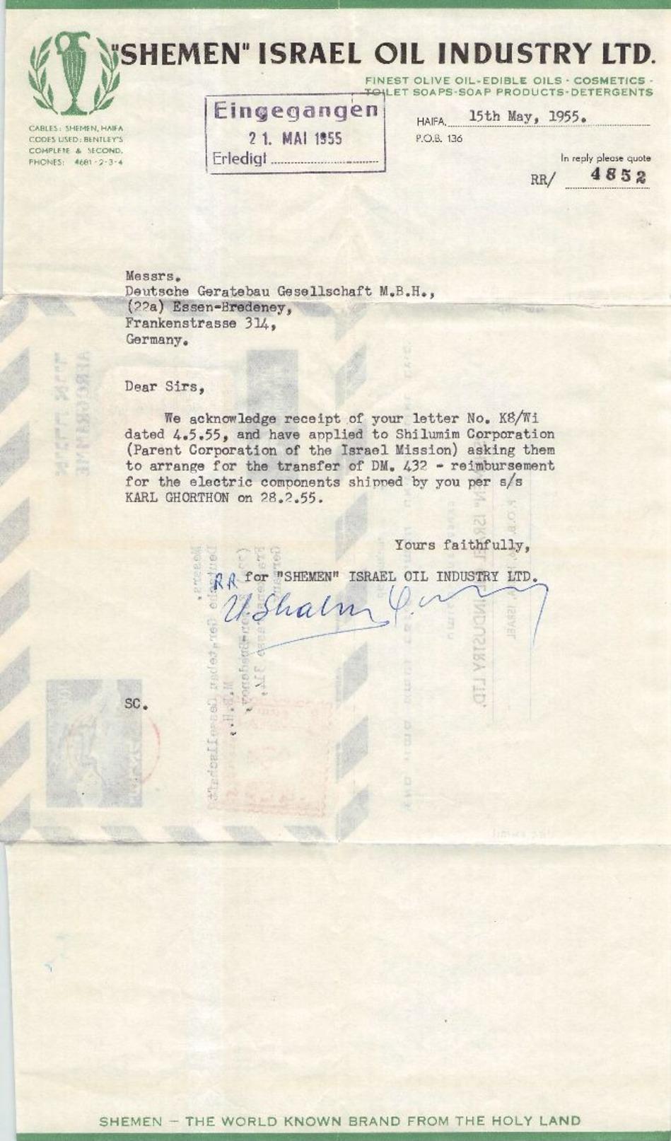 ISRAEL - AEROGRAMME 1955 HAIFA -> ESSEN-BREDENEY - Luftpost