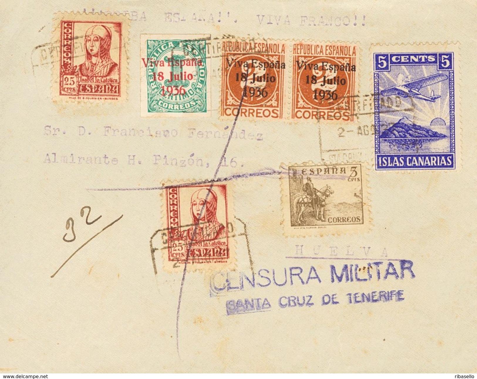 España 1937. Canarias. Carta De Tenerife A Huelva. Censura. - Marcas De Censura Nacional