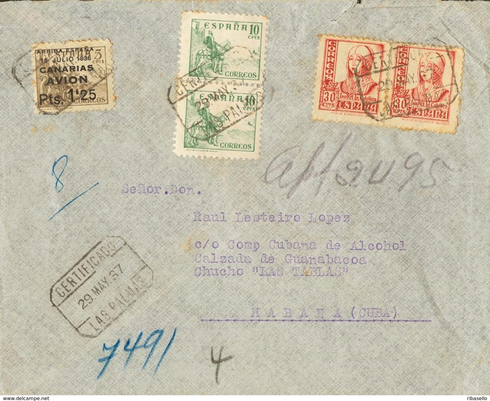 España 1937. Canarias. Carta De Las Palmas A La Habana. Censura. - Marcas De Censura Nacional
