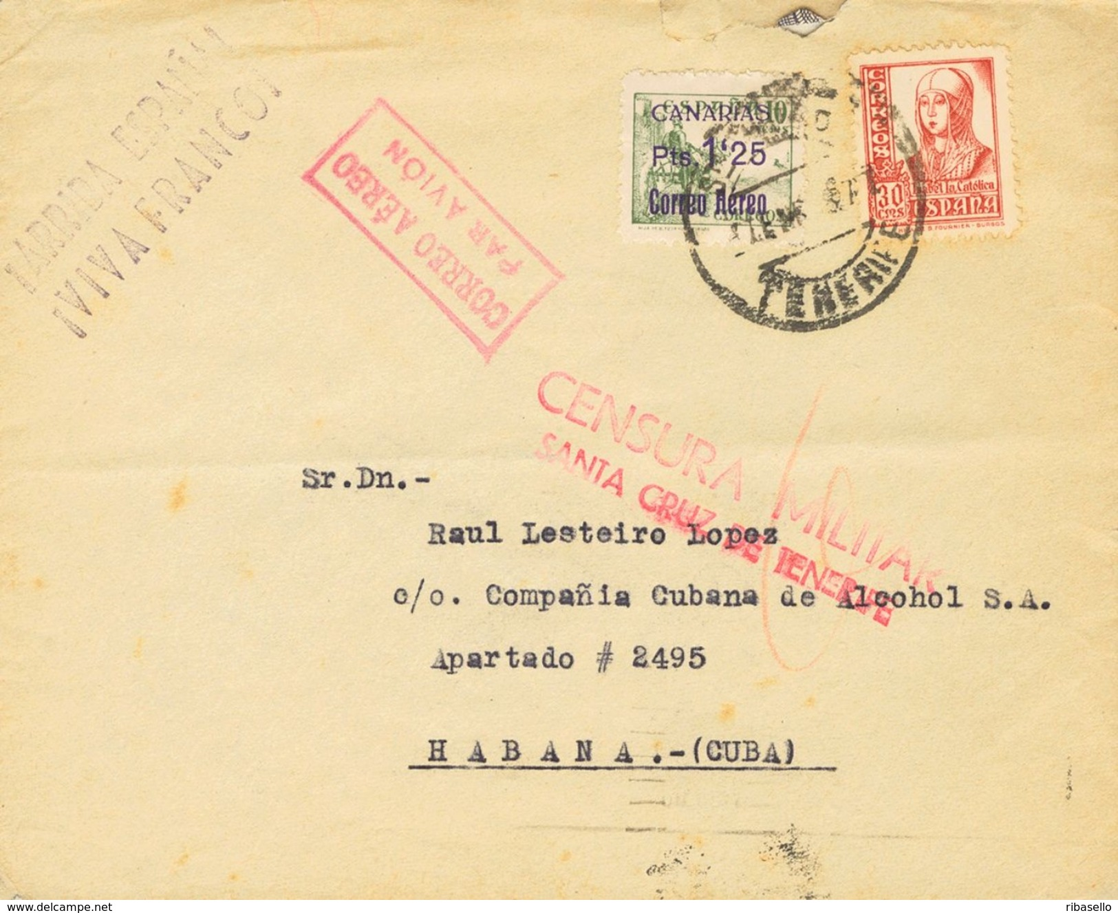 España 1938. Canarias. Carta De Tenerife A La Habana. Censura. - Marcas De Censura Nacional