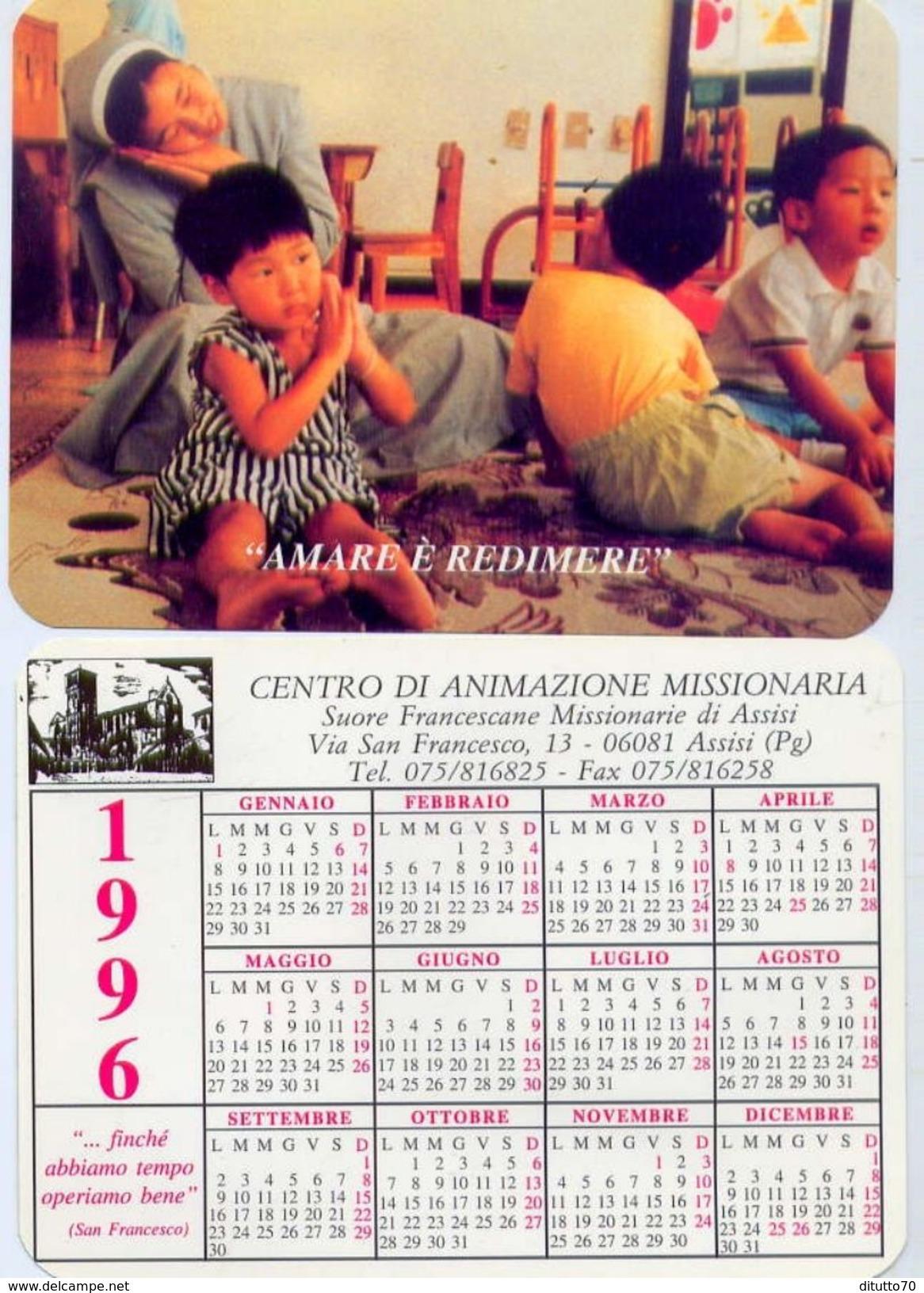Calendarietto - Amare E Redimere - Centro Di Animazione Missionaria Di Assisi 1996 - Formato Piccolo : 1991-00
