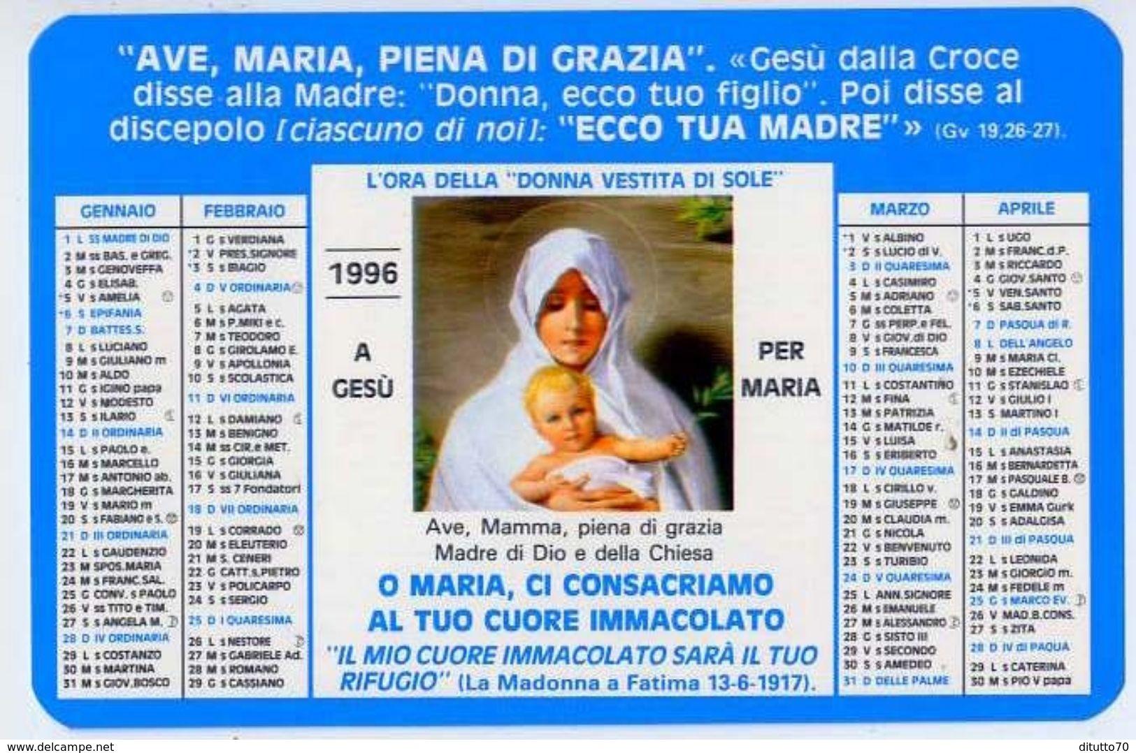 Calendarietto - L'ora Della Donna Vestita Di Sole 1996 - Formato Piccolo : 1991-00