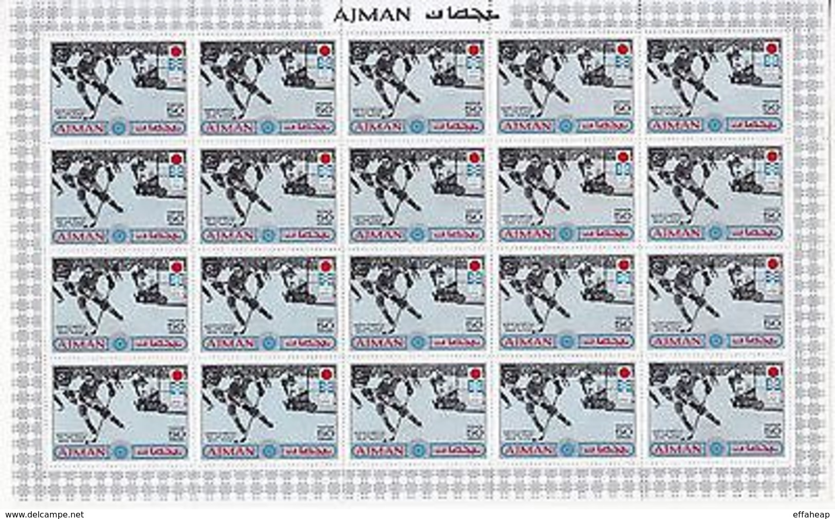Ajman: Winter Olympics, Three Mint Sheet Of 20 Stamps - Stamps