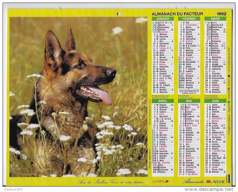 Calendrier Des PTT 1992 - Calendriers