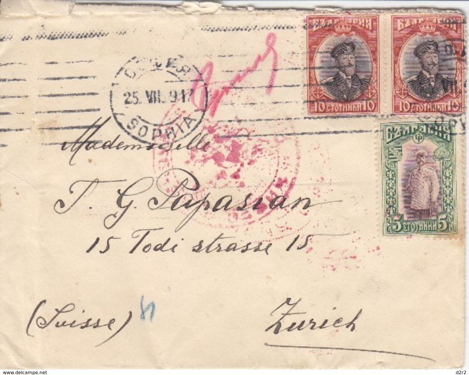 LETTRE POUR LA SUISSE - DIVERS CACHETS - 1917 - 1909-45 Royaume