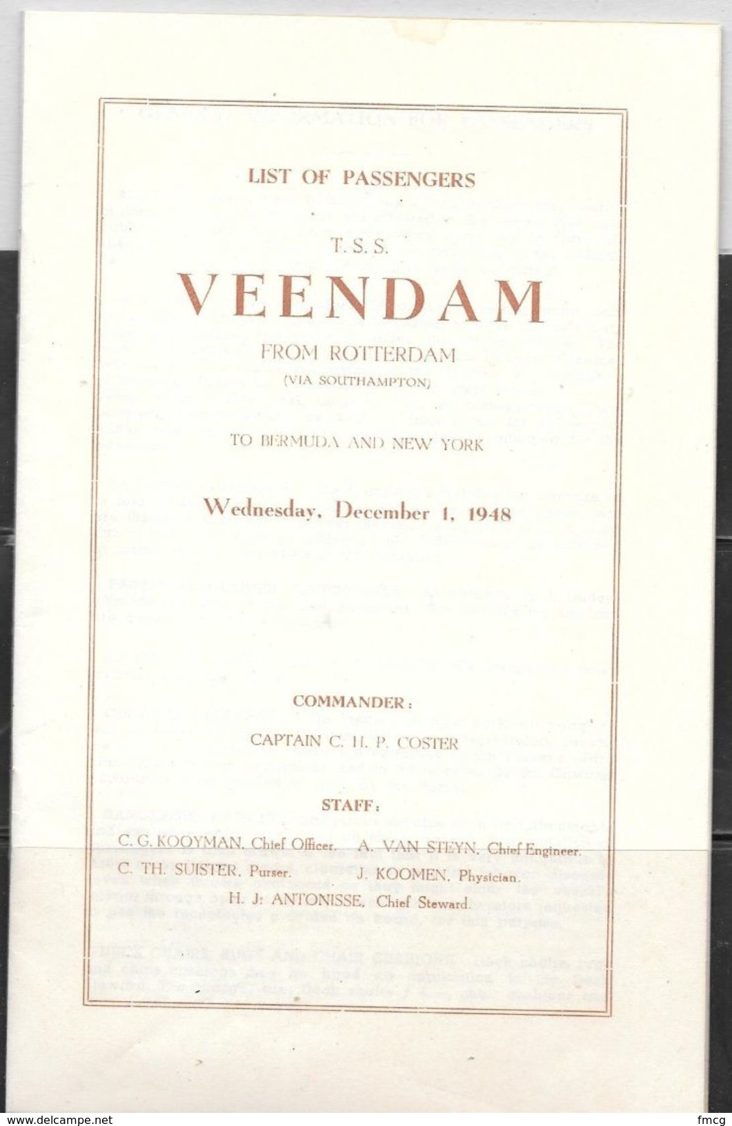1948 Passenger List From Holland America TSS Veendam Cruise On December 1, 1948 - World