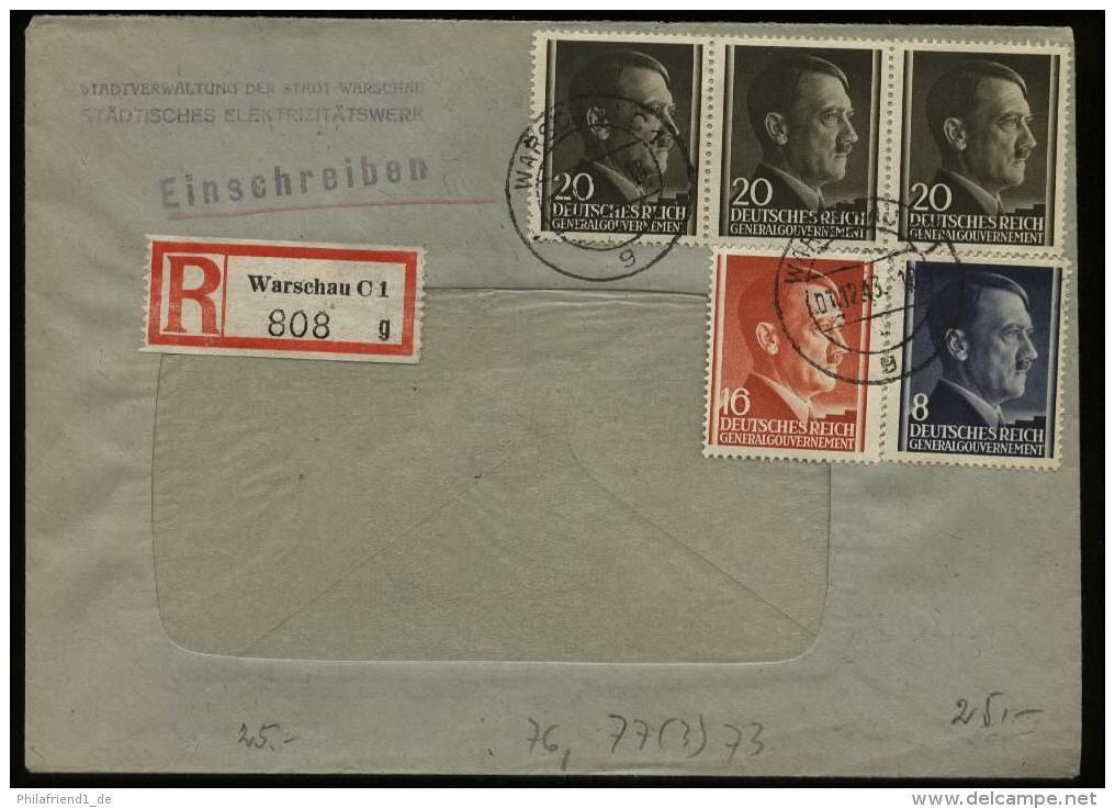 WW II GG Generalgouvernement Hitler Polen R - Briefumschlag E - Werk: Gebraucht Warschau - Krakau 1943 , Bedarfserhalt - Deutschland