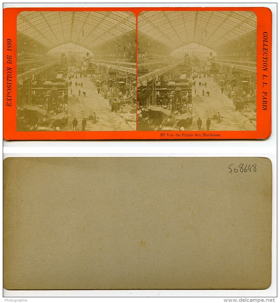 France Paris Expo Universelle Palais Des Machines Ancienne Stereo Photo LL 1889 - Stereoscopic