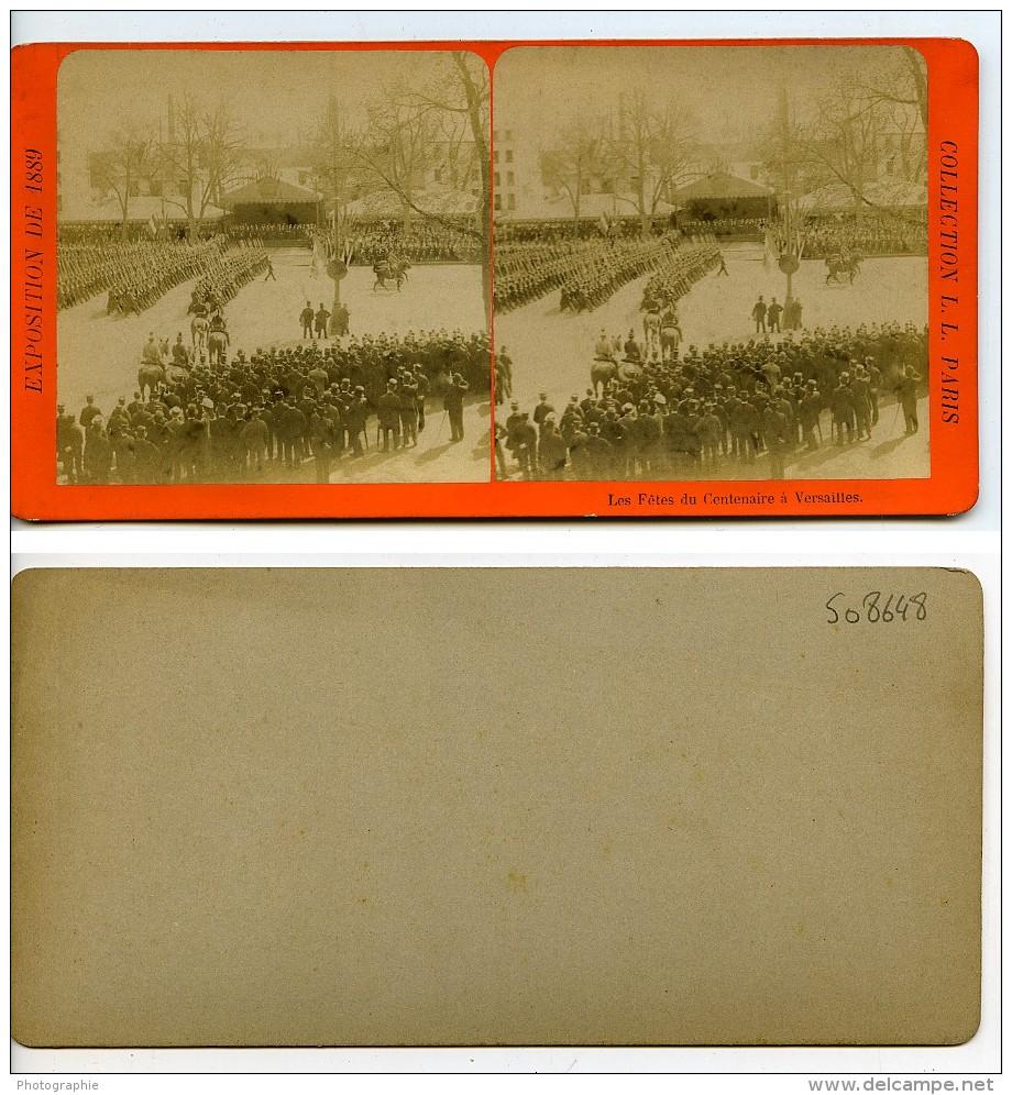 France Versailles Paris Expo Universelle Fêtes Du Centenaire Ancienne Stereo Photo LL 1889 - Stereoscopic