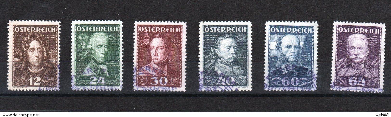 """Österreich 1935 """"Österreichische Heerführer"""" Kpl.Satz 617/22 SStp.Tag D.Briefm.!! - Gebraucht"""