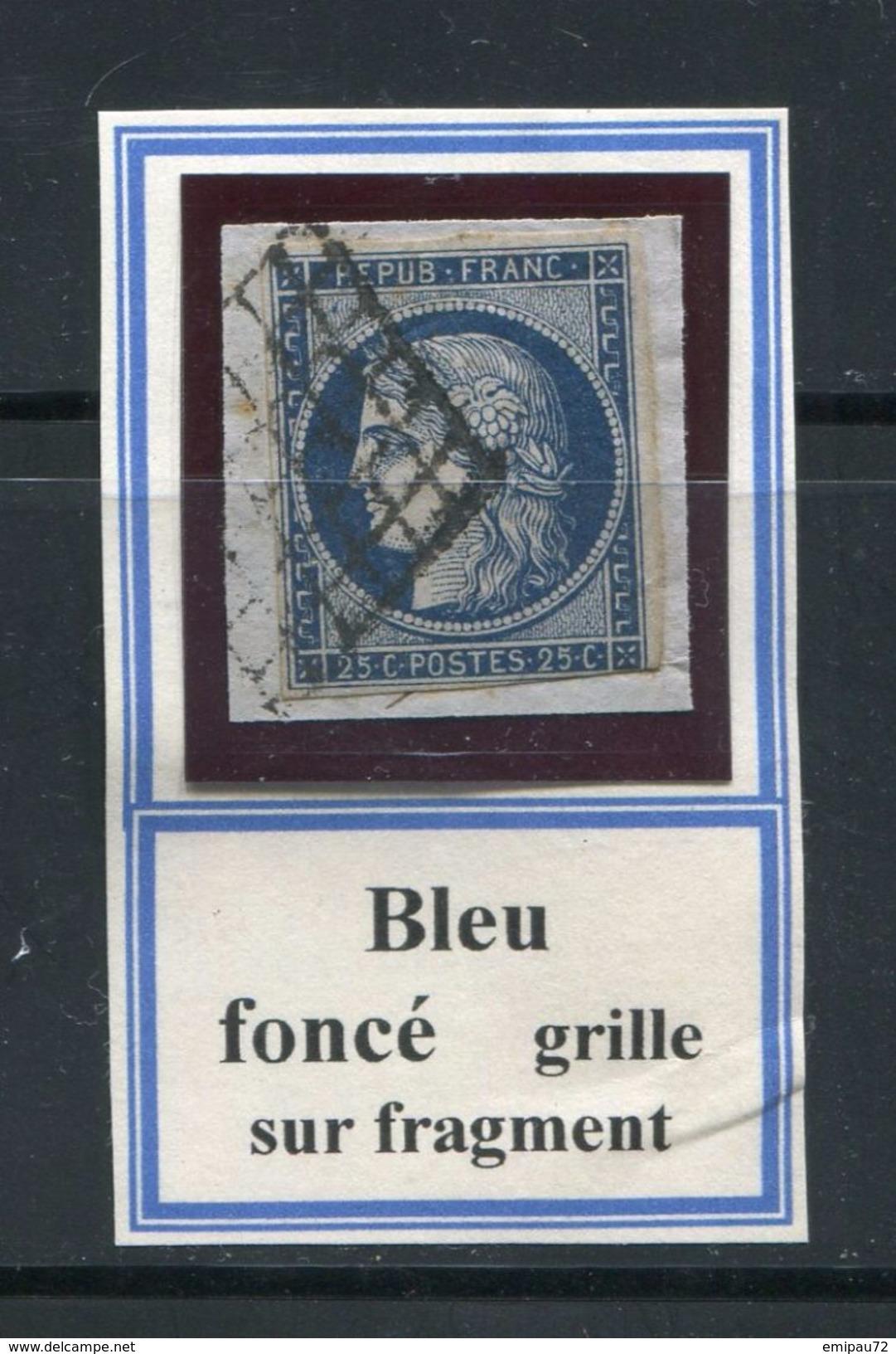 FRANCE- Y&T N°4a)- Bleu Foncé- Oblitération Grille Sur Fragment - 1849-1850 Cérès