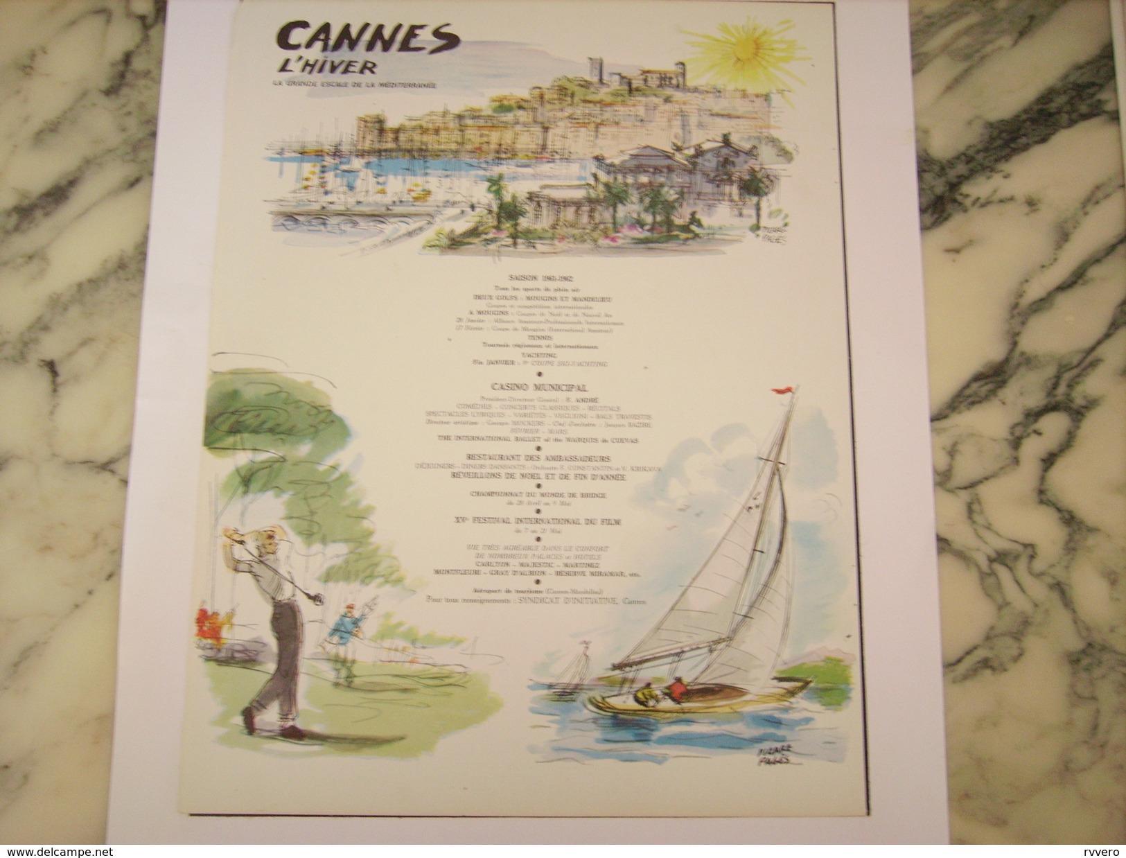 ANCIENNE PUBLICITE VOYAGE CANNES L HIVER 1961 - Publicité