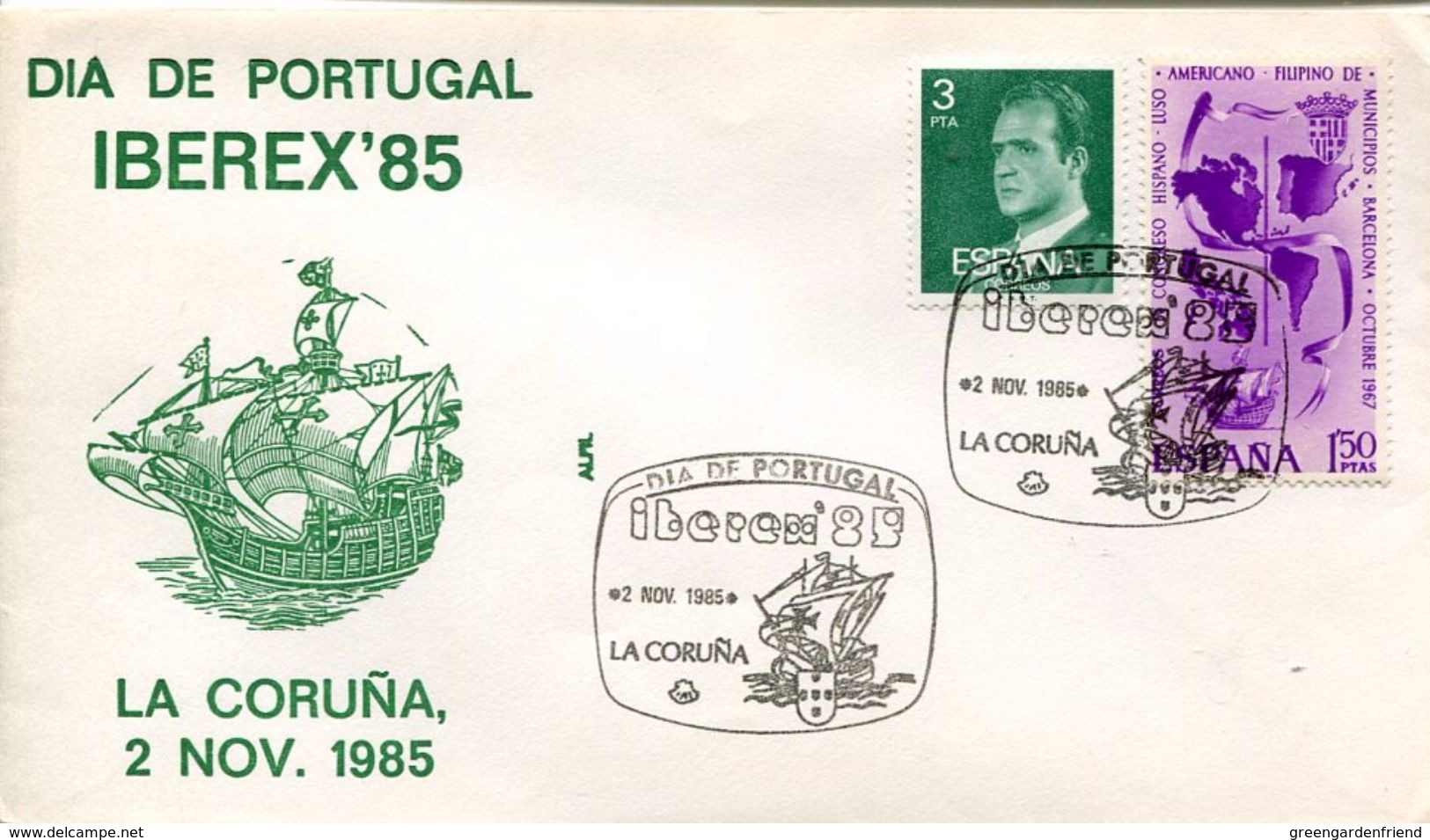 23668 Spain, Special Postmark 1985 La Coruna,  Columbus , Coulomb, Colon, - Christopher Columbus