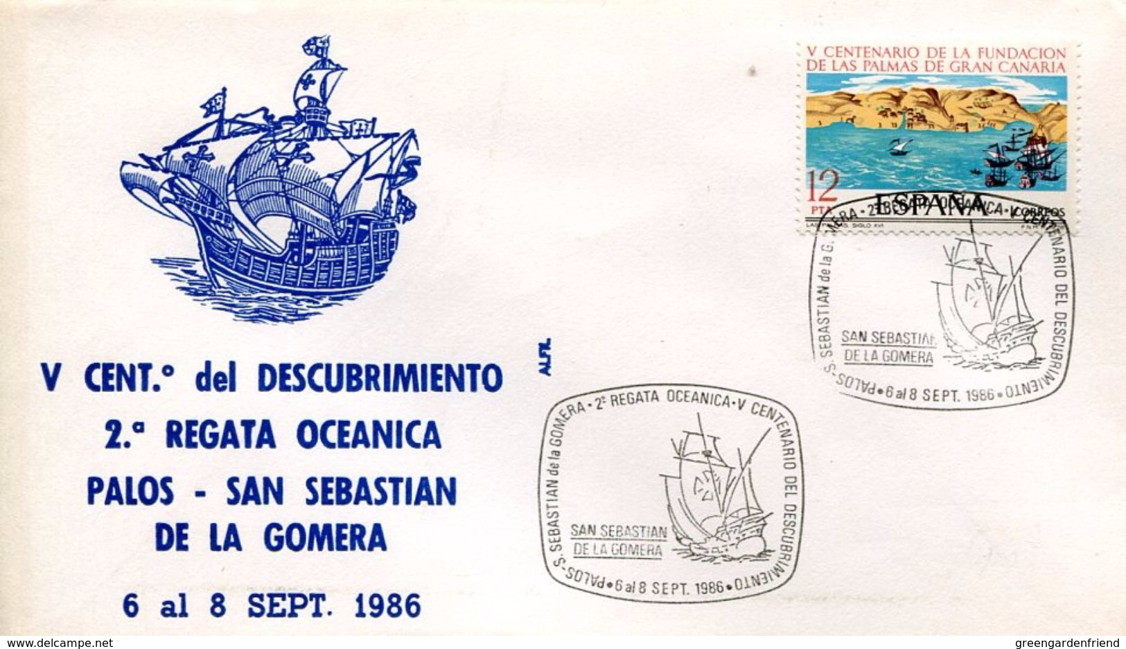 23671 Spain, Special Postmark 1986 San Sebastian De La Gomera ,  Columbus , Coulomb, Colon, - Christophe Colomb