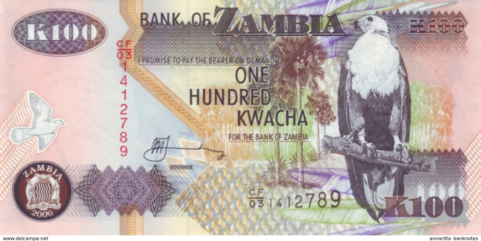 ZAMBIA 100 KWACHA 2006 P-38f UNC [ZM139g] - Zambia
