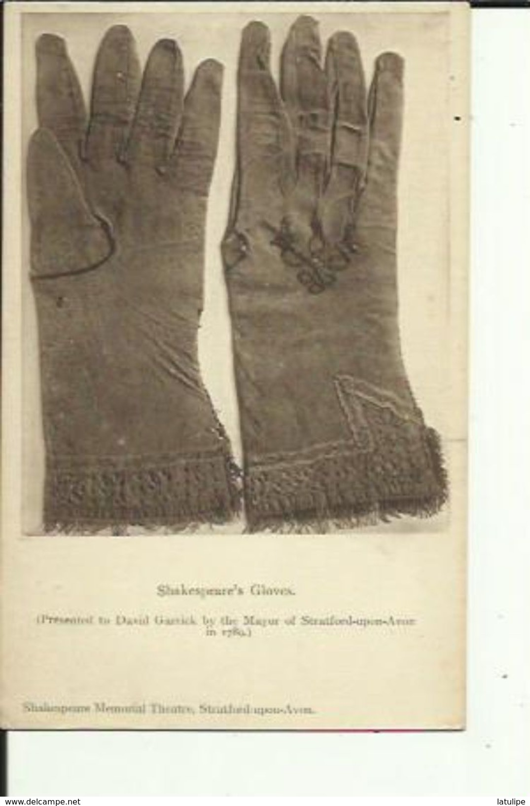 SHAKESPEARE'S GLOVES  Prented To David Garrick By The Mayor Of Stratford Upon Avon - Altri
