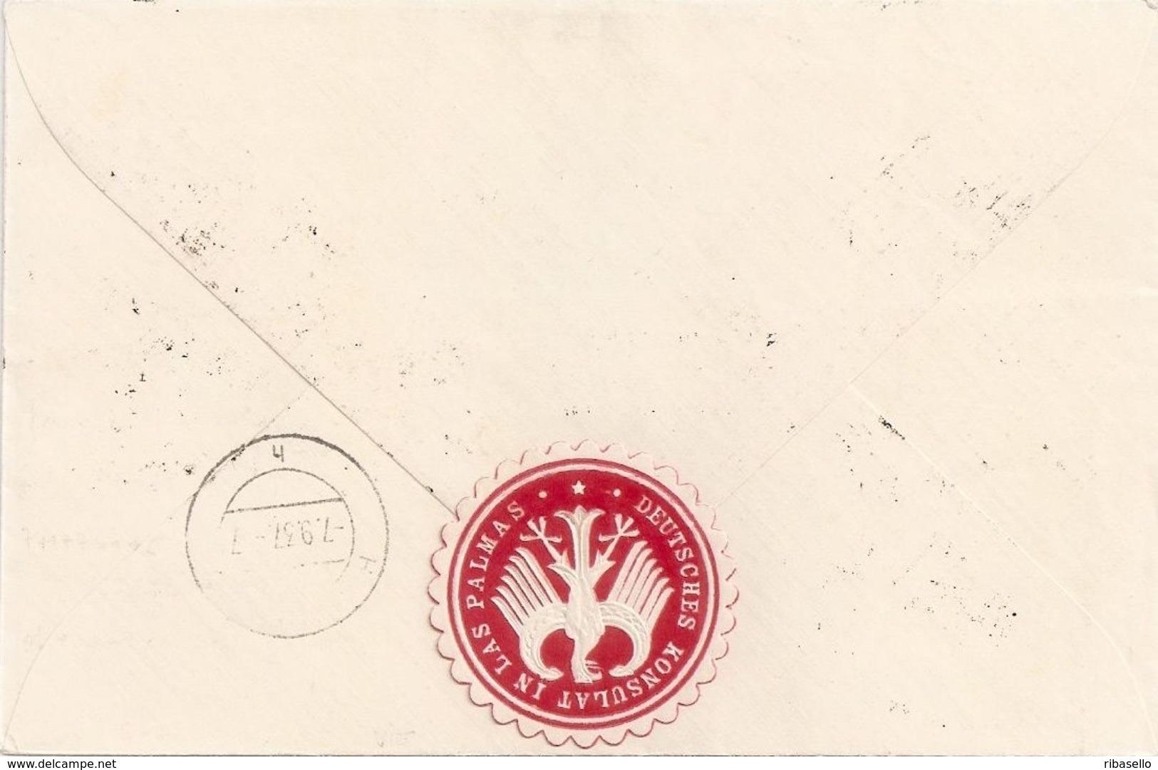España 1937. Canarias. Carta De Las Palmas A Hamburgo. Censura. - Marcas De Censura Nacional