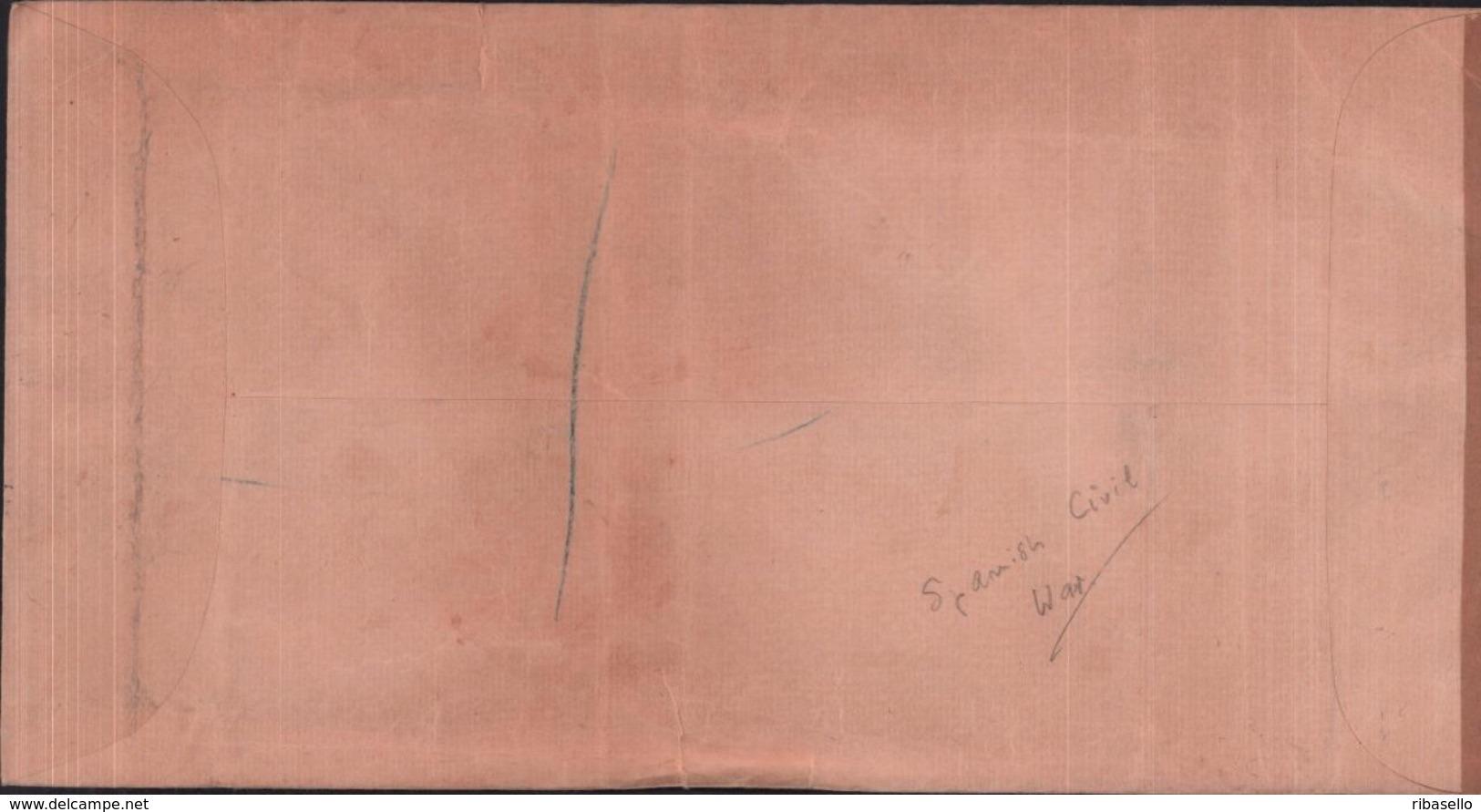 España 1937. Canarias. Carta De Las Palmas A Birmingham. Censura. - Marcas De Censura Nacional
