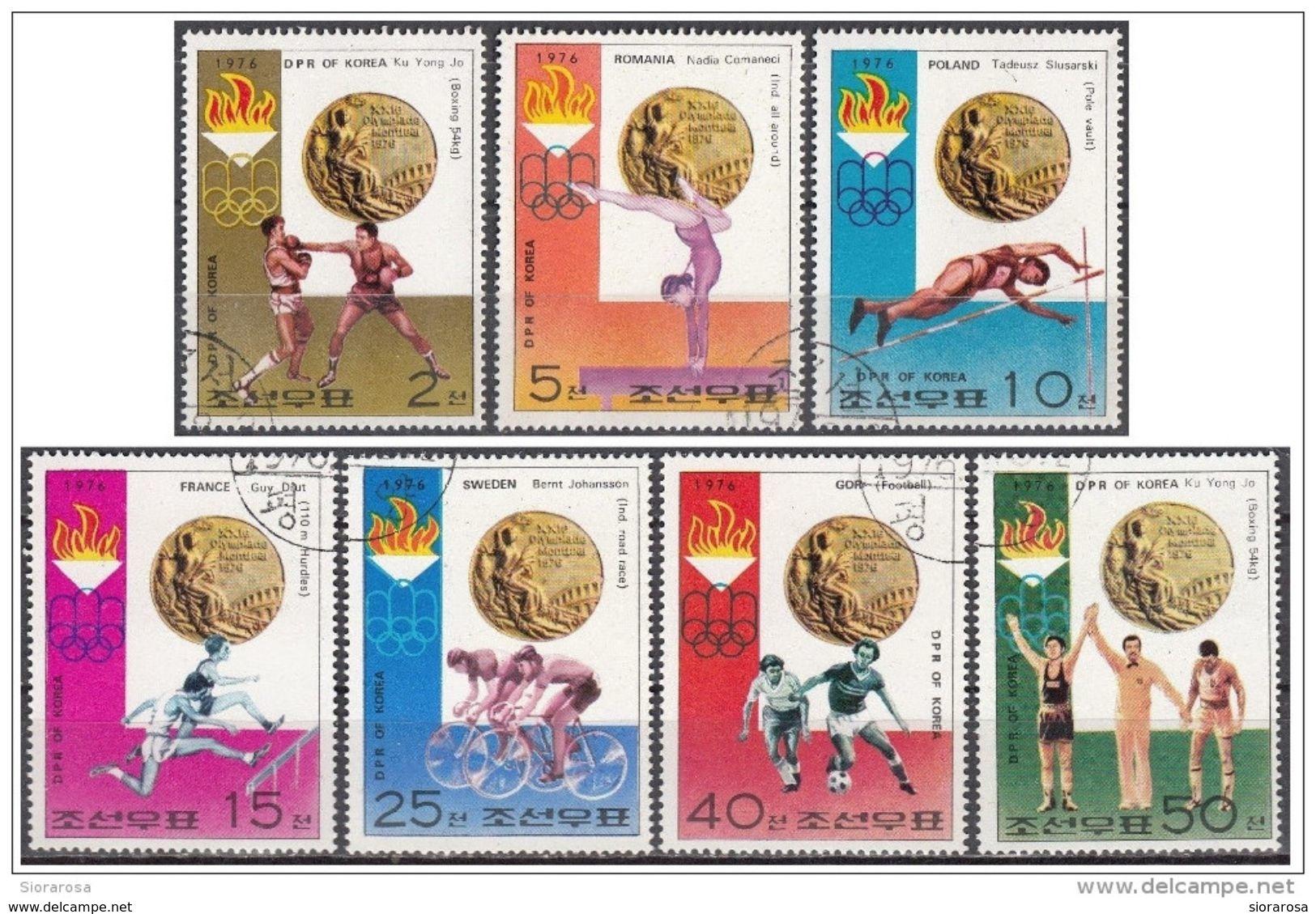 1491 DPR Korea 1976 XXI Olimpiade Montreal Medaglie D ´ Oro Ku Yong Jo, Comaneci, Vault, Slusarski, Drut ...   Gold - Estate 1976: Montreal