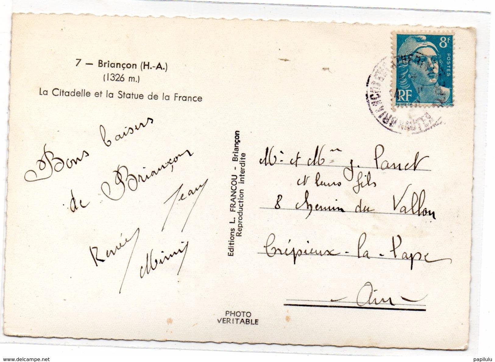 DEPT 05 : édit. F Francou N° 7 : Briancon La Citadelle Et La Statue De La France - Briancon