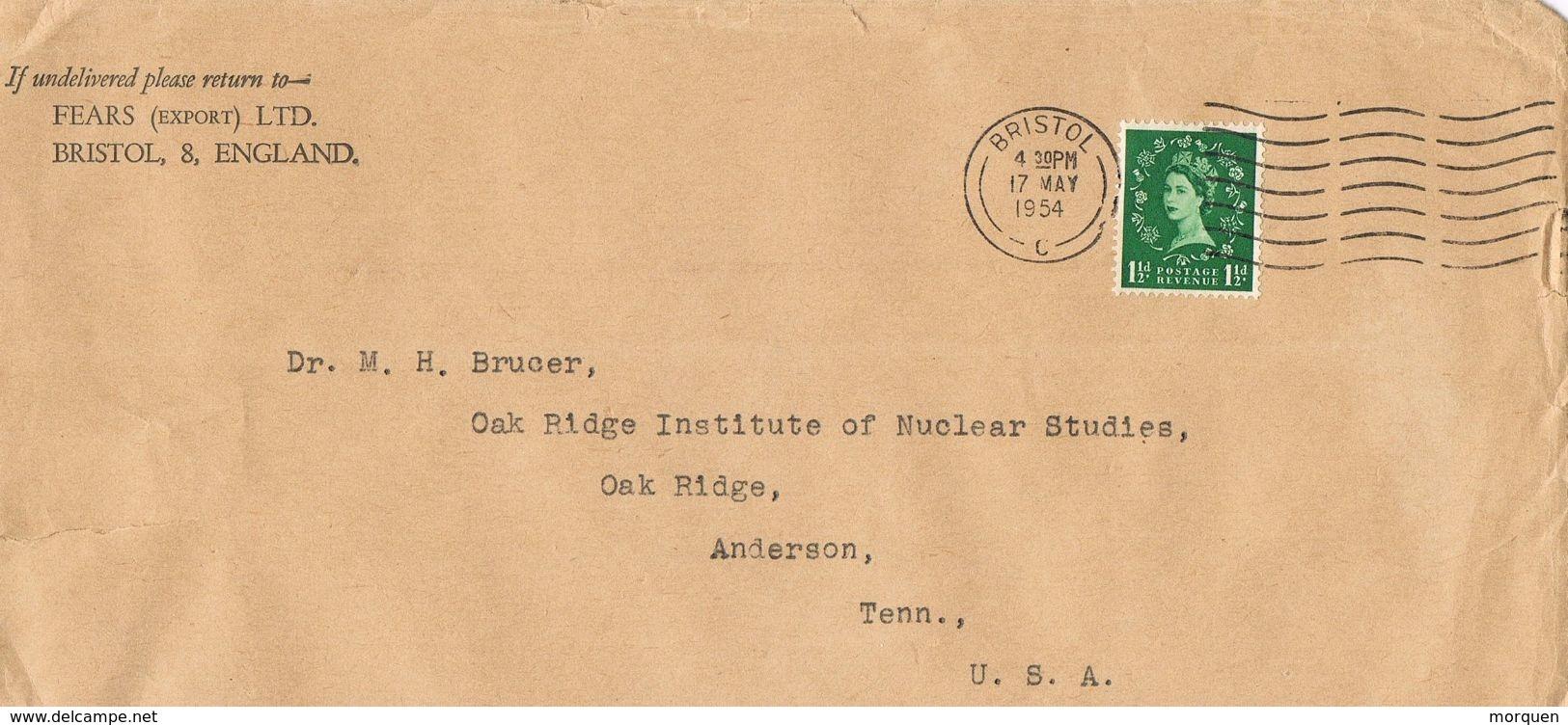 24975. Carta BRISTOL (Gran Bretaña) 1954 To USA - 1952-.... (Elizabeth II)
